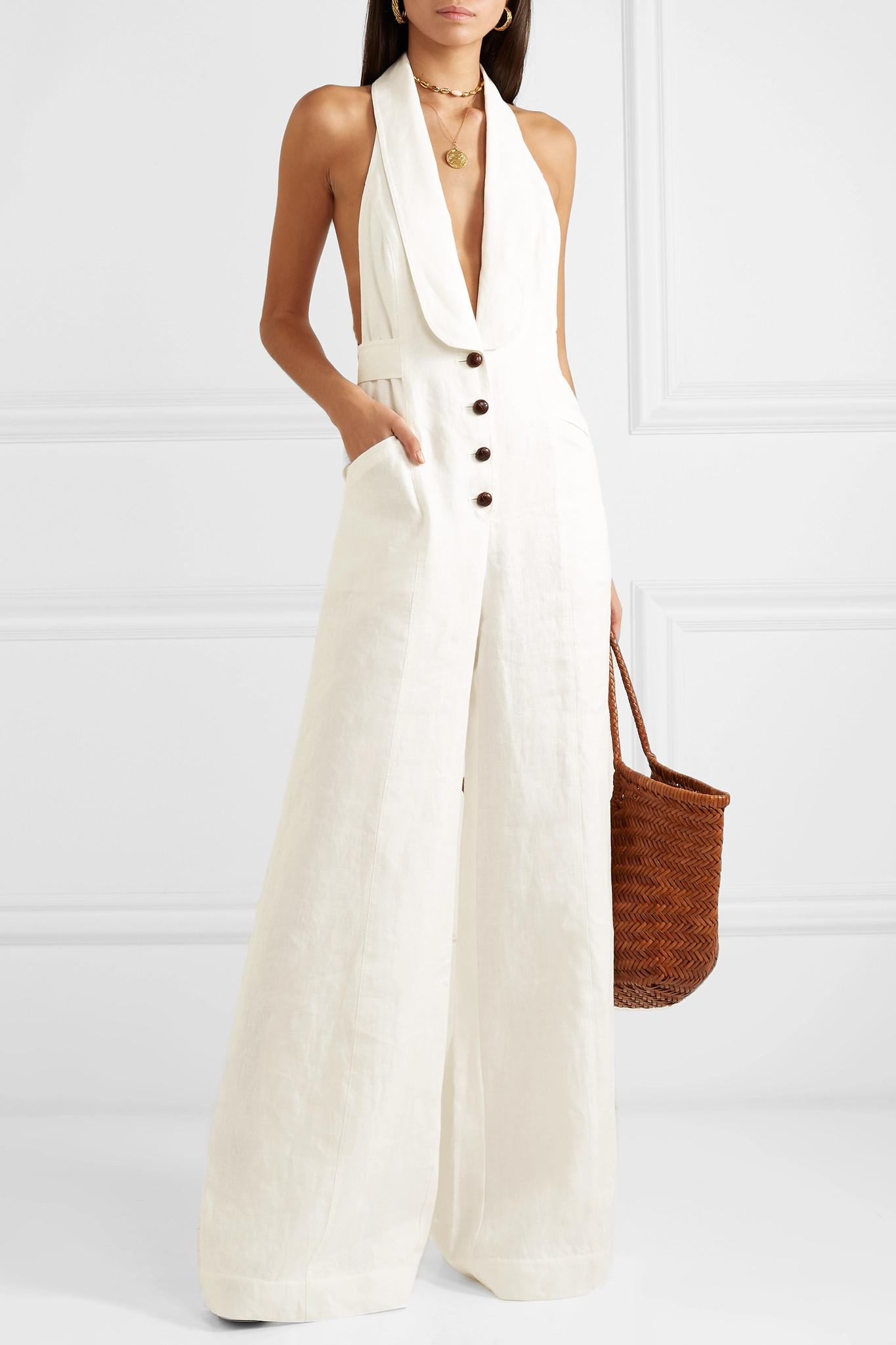 3c8dace5945 Zimmermann Corsage Linen Jumpsuit in White - Save 14% - Lyst