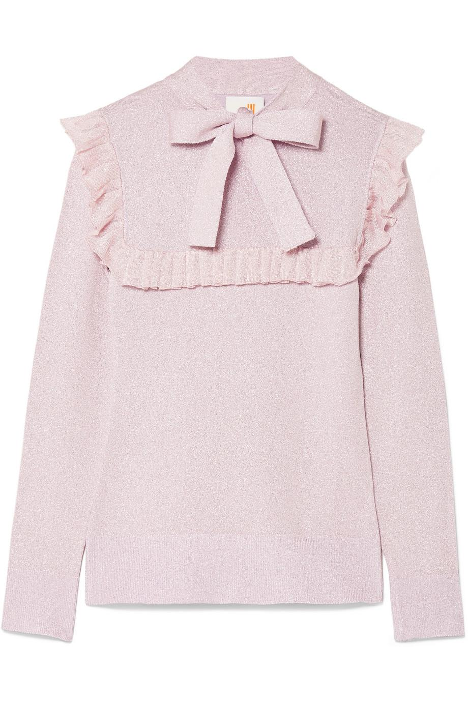 Free Shipping Best Prices Popular Online Ruffled Pussy-bow Lurex Sweater - Lilac JoosTricot Buy Online Cheap Free Shipping Best Store To Get Low Cost Online bqzTd7I