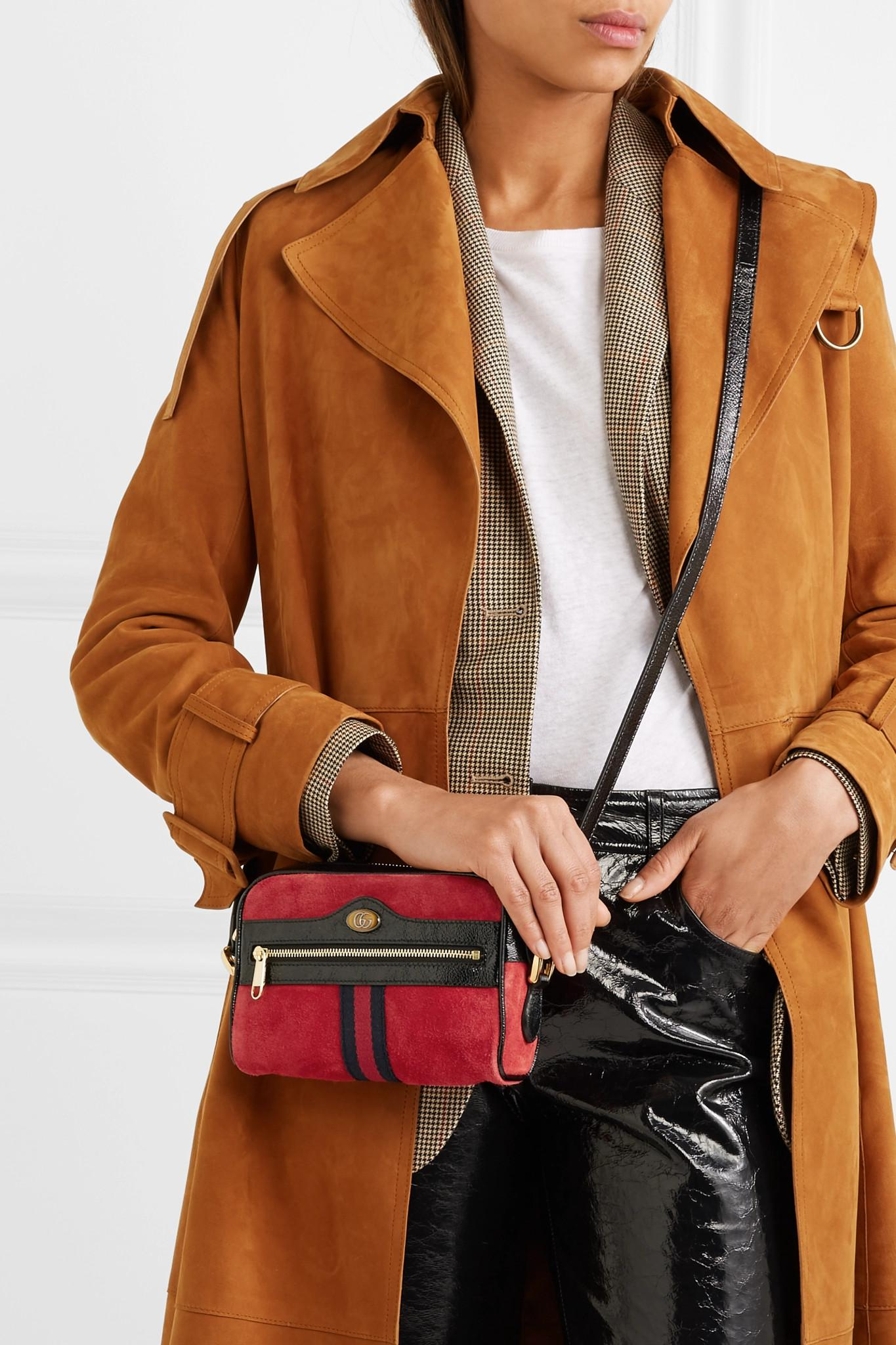e9b41aea72d3 Gucci - Red Ophidia Patent Leather-trimmed Suede Shoulder Bag - Lyst. View  fullscreen