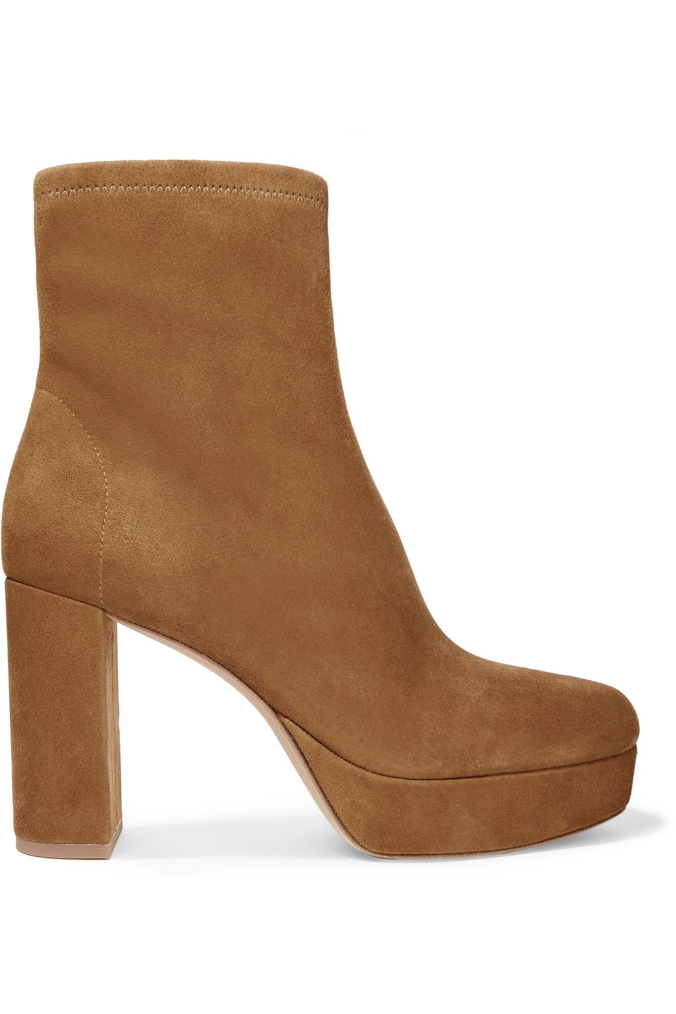 b7b1c781c67b Lyst - Diane von Furstenberg Yasmine Suede Platform Ankle Boots in Brown