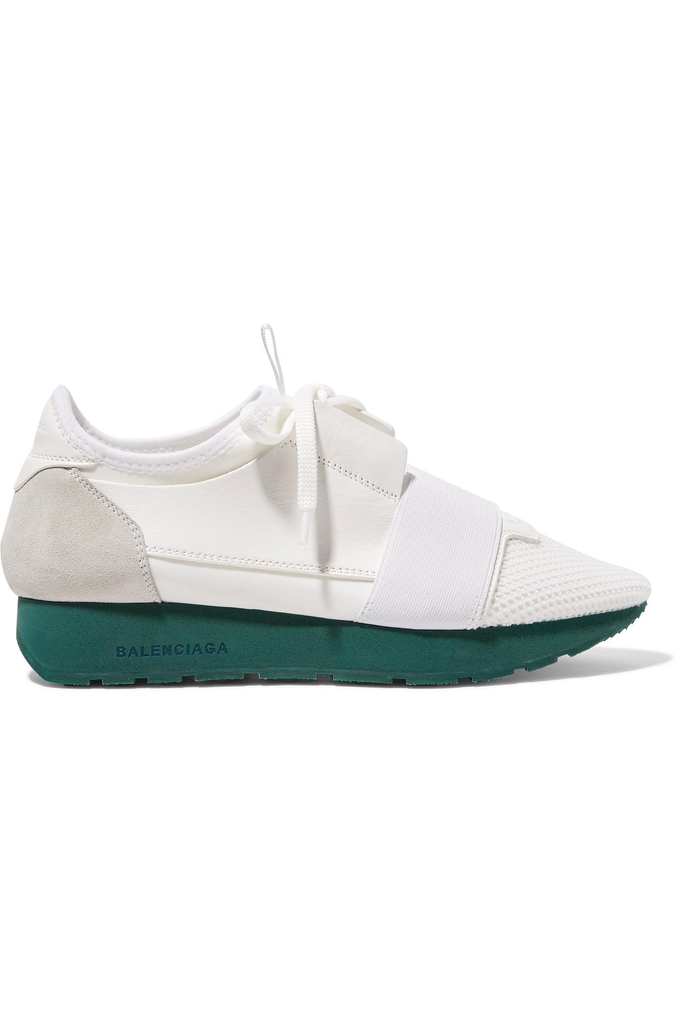 Race Runner Leather, Suede, Mesh And Neoprene Sneakers - White Balenciaga