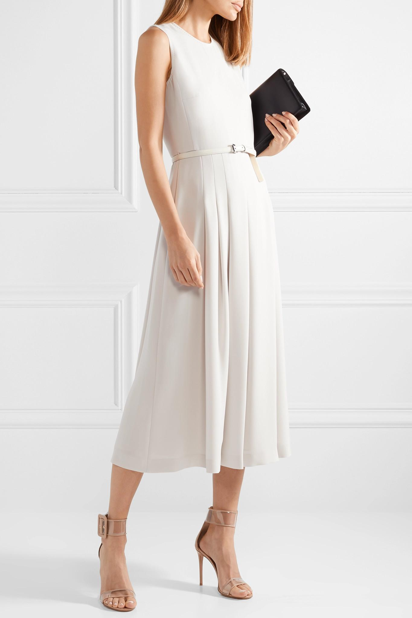 b06bd1050a10be Max Mara Belted Stretch-cady Midi Dress in White - Lyst
