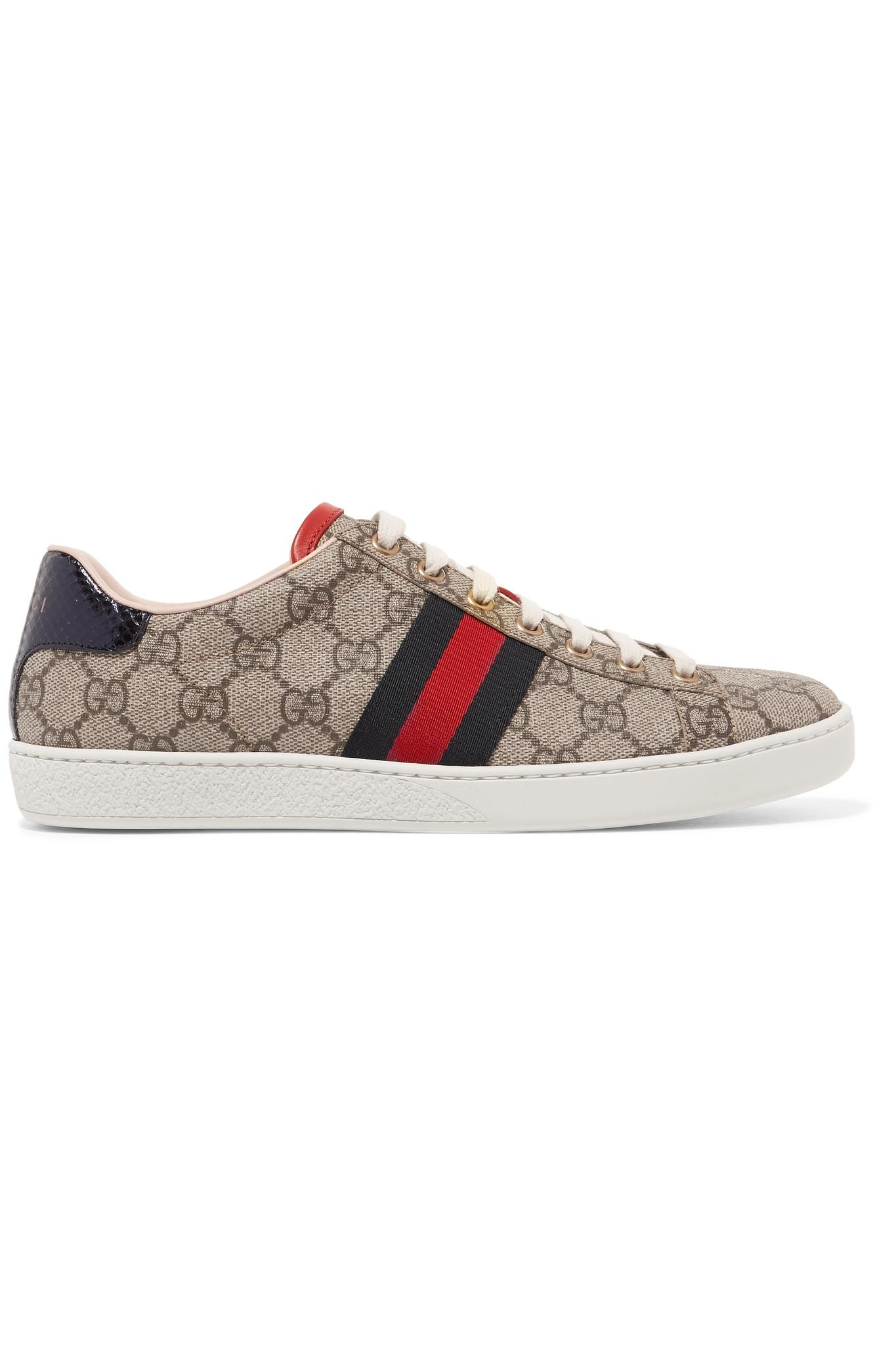 Gucci. Women s Ace Metallic Watersnake-trimmed Printed Coated-canvas  Trainers 2db9461beace5