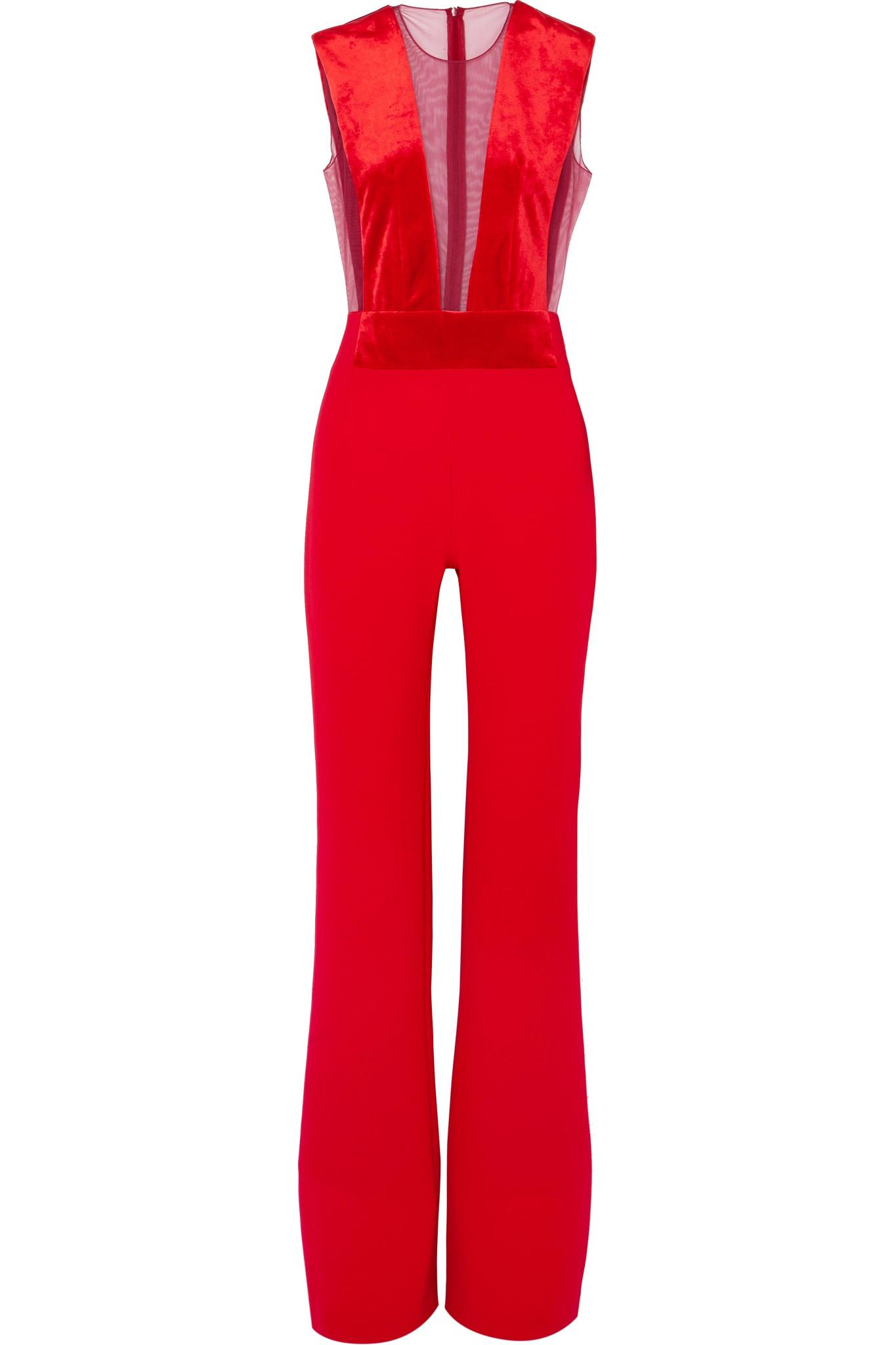 afb5da636994 Galvan London. Women s Red Gwyneth Velvet And Tulle-paneled Crepe Jumpsuit