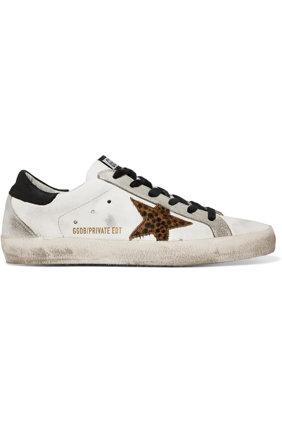 Superstar Distressed Leopard-print Calf Hair, Leather And Suede Sneakers - Leopard print Golden Goose