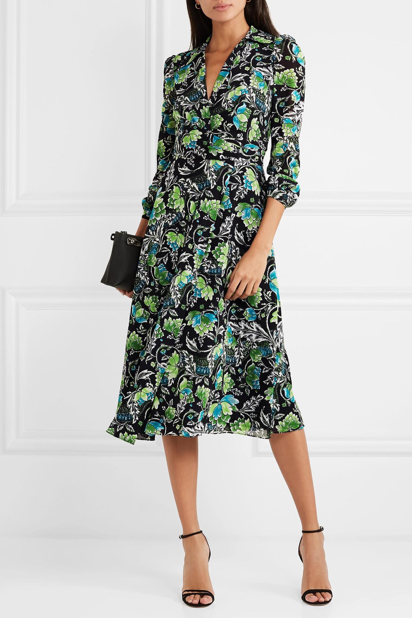cce96ed7cc Diane von Furstenberg Phoenix Floral-print Georgette Wrap Dress in ...