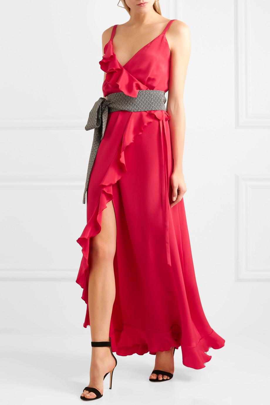 Geisha Ruffled Silk Crepe De Chine Wrap Maxi Dress - Red Racil Sale Purchase Outlet Affordable Buy Cheap Footlocker Finishline Exclusive Sale Online RiiuJjuc