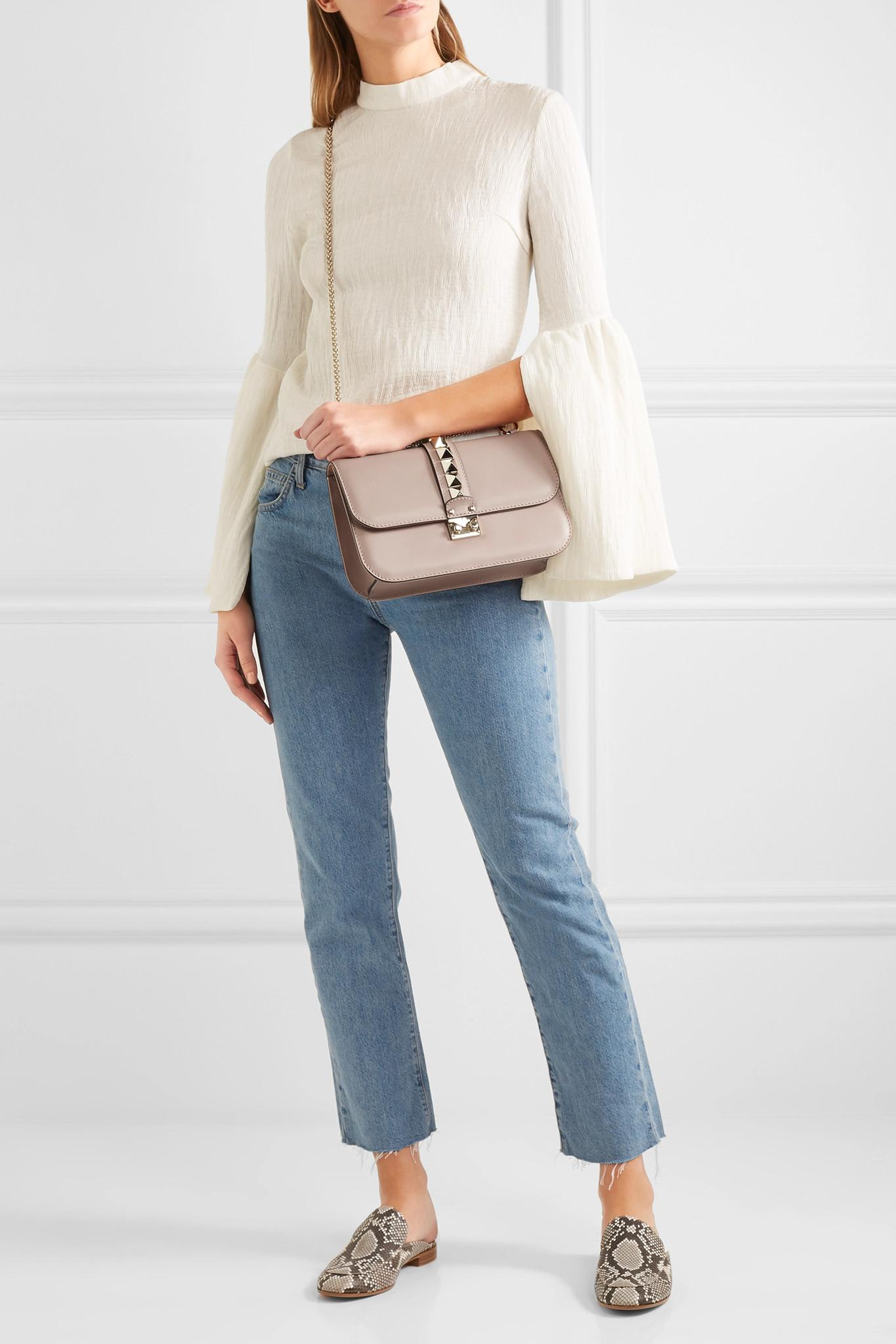 e33f9b9bd0 Valentino - Natural Garavani Lock Medium Leather Shoulder Bag - Lyst. View  fullscreen