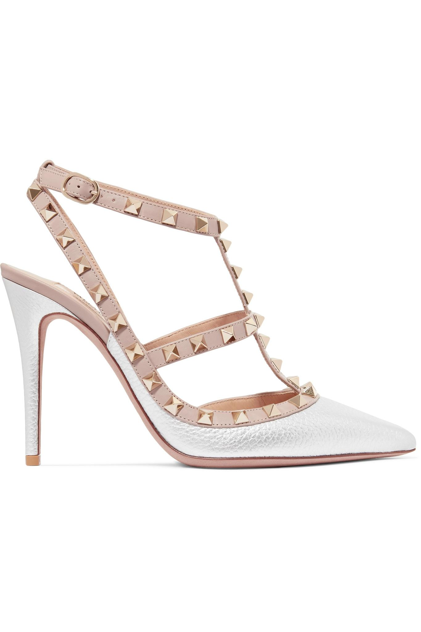 Valentino Garavani The Rockstud Textured-leather Pumps - Crimson Valentino