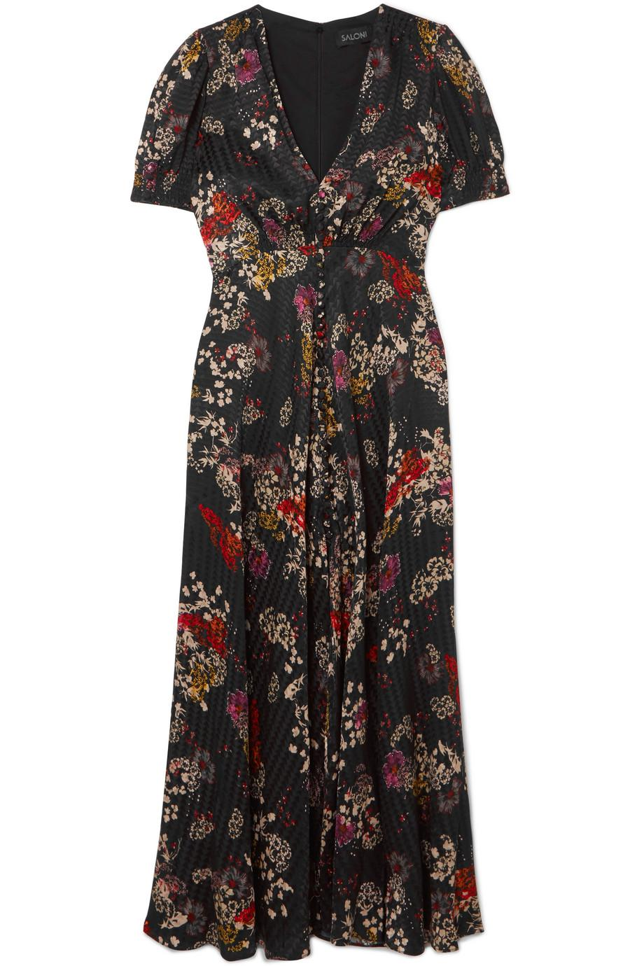 Lea Floral-print Silk Crepe De Chine Midi Dress - Fuchsia Saloni Best Choice Discount Sale Free Shipping Recommend D58Wt