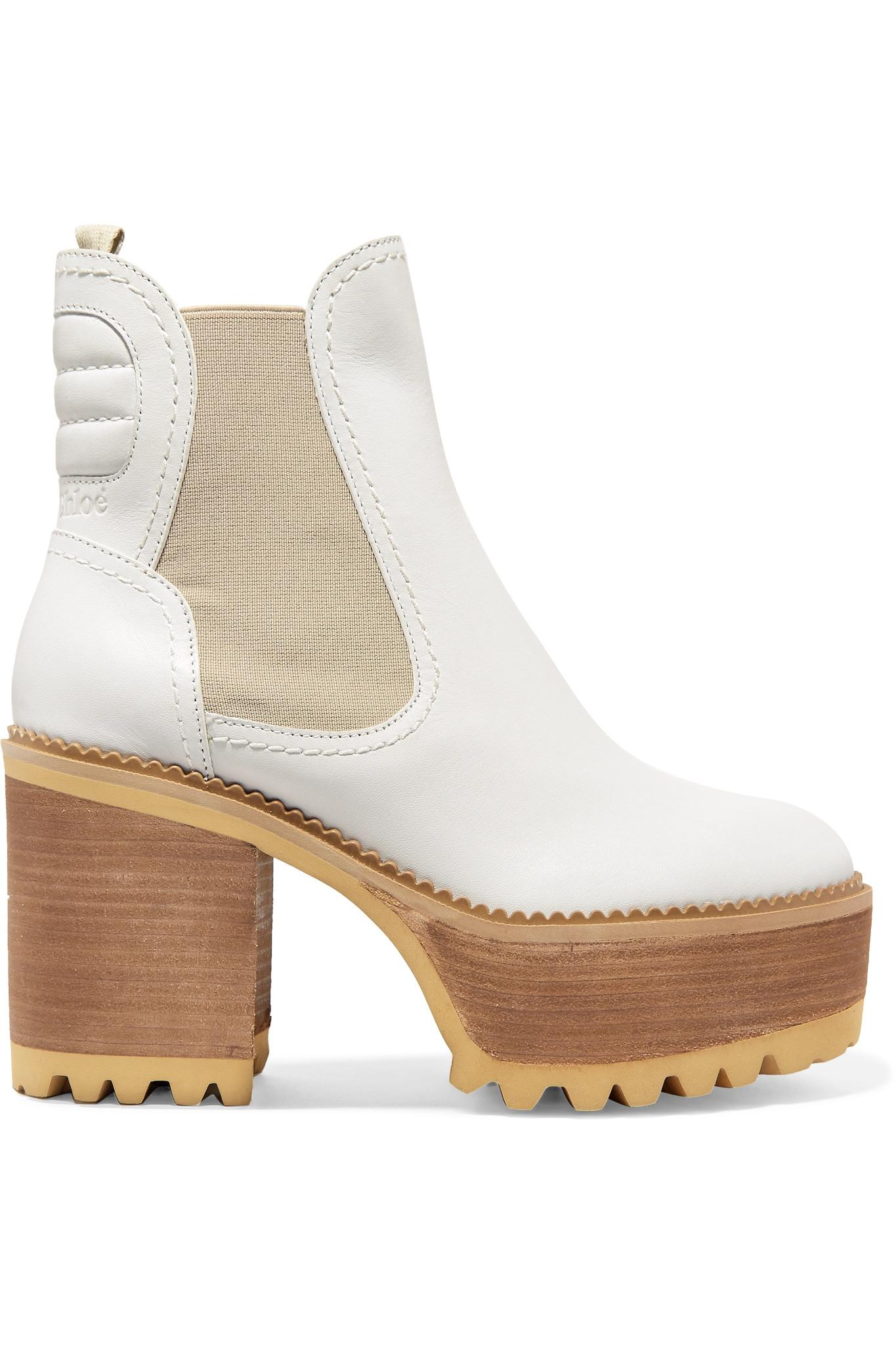 a9ece732b05f39 Lyst - See By Chloé Erika Ankle Boots Aus Leder Mit Plateau in Weiß