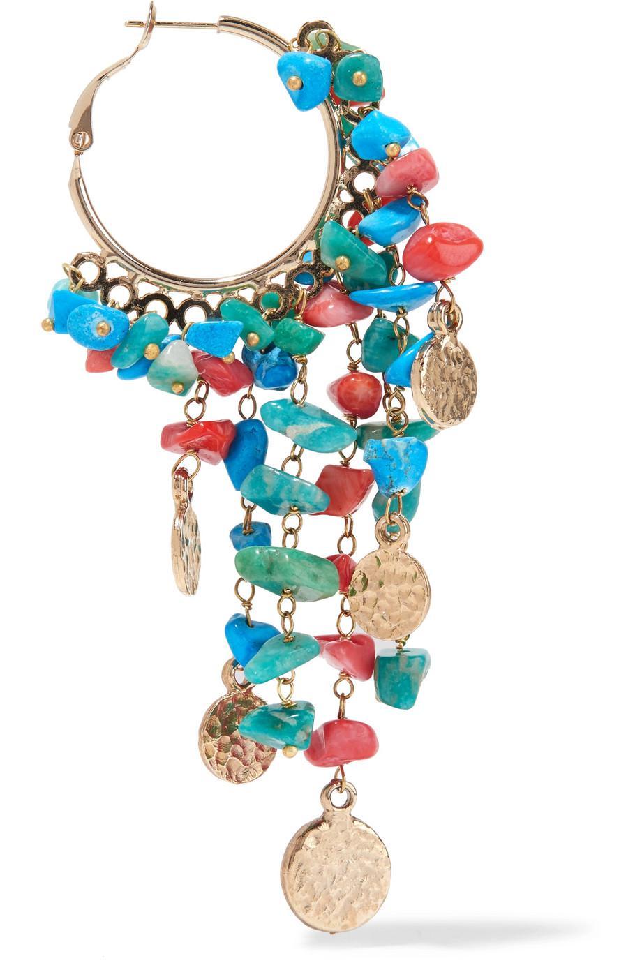 Rosantica Vento Gold-tone Beaded Hoop Earrings - Blue vQCz5yEgJ