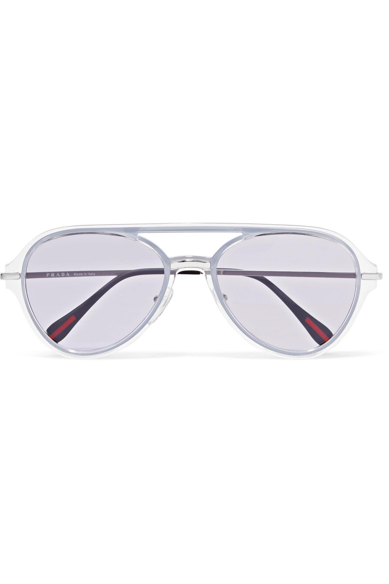 5878c920e352 Lyst And Tone Style In Silver Acetate Purple Aviator Prada Sunglasses  ngzqRIn