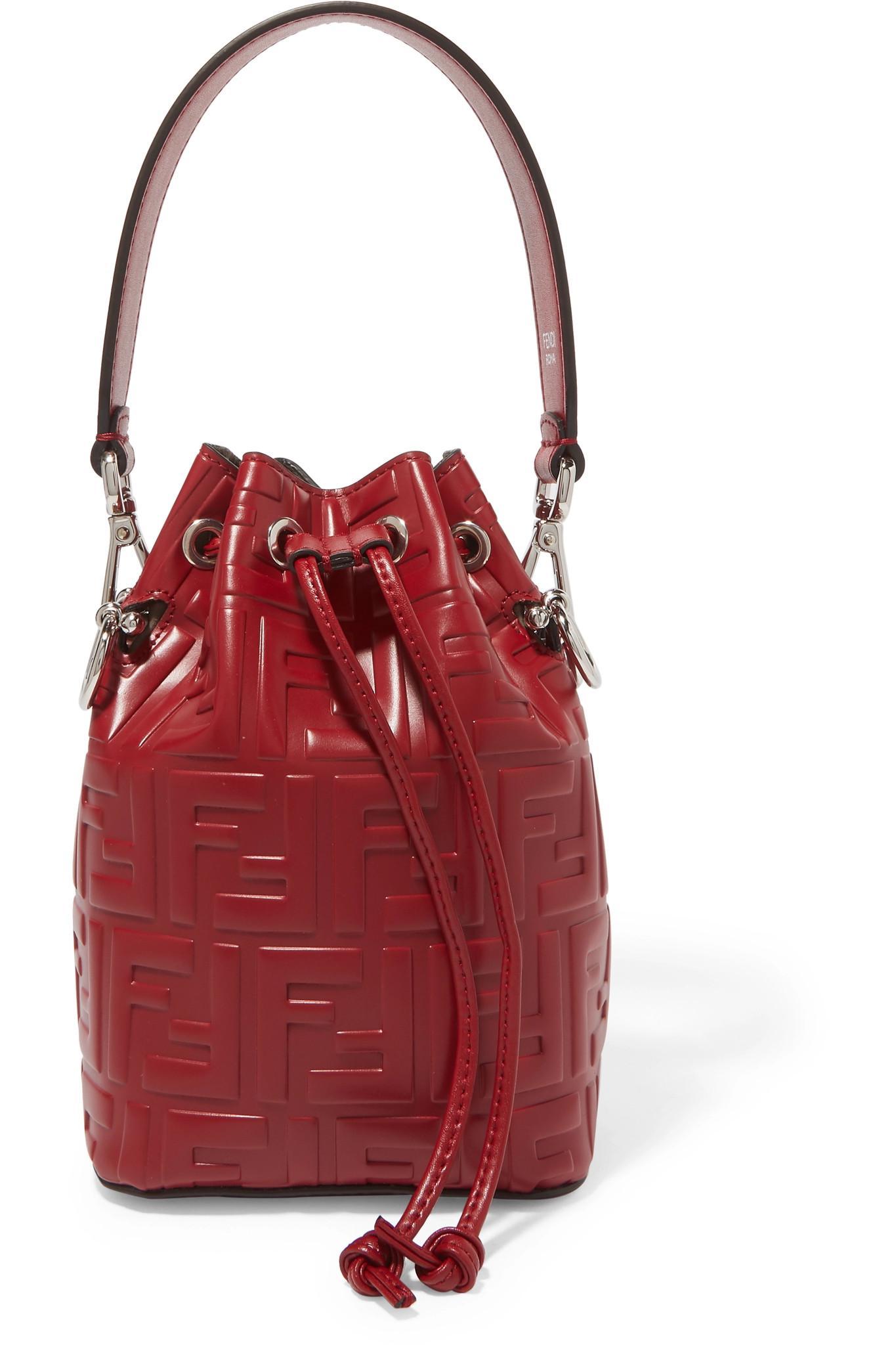9b3b6954b6bd Fendi. Women s Mon Trésor Small Embossed Leather Bucket Bag
