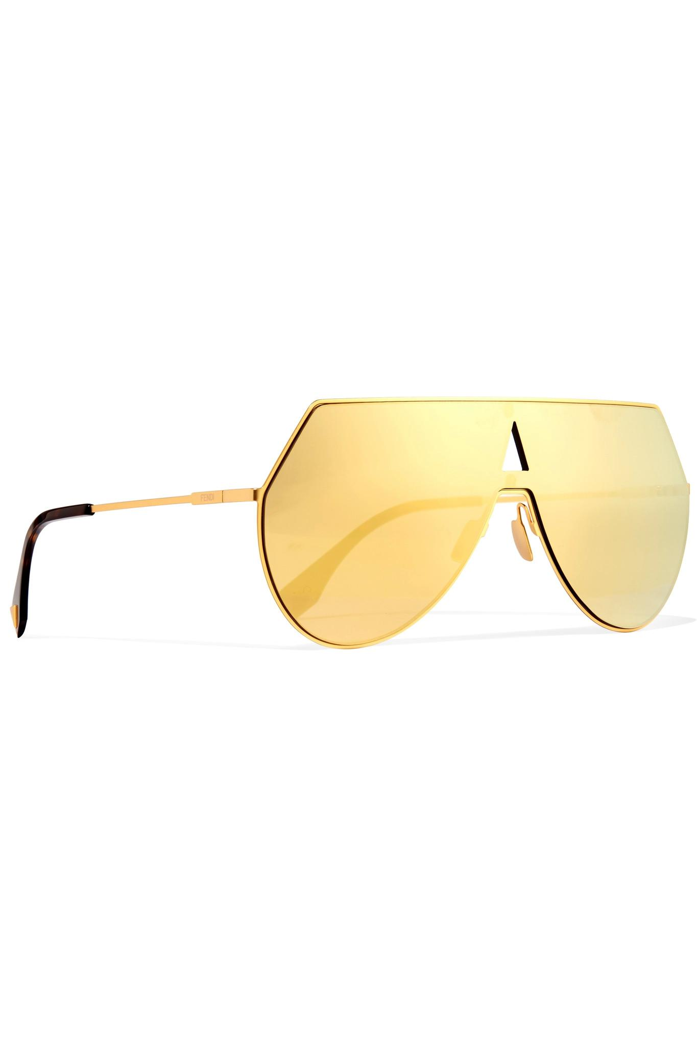 da619ba376 Fendi Aviator-style Gold-tone And Acetate Mirrored Sunglasses in ...