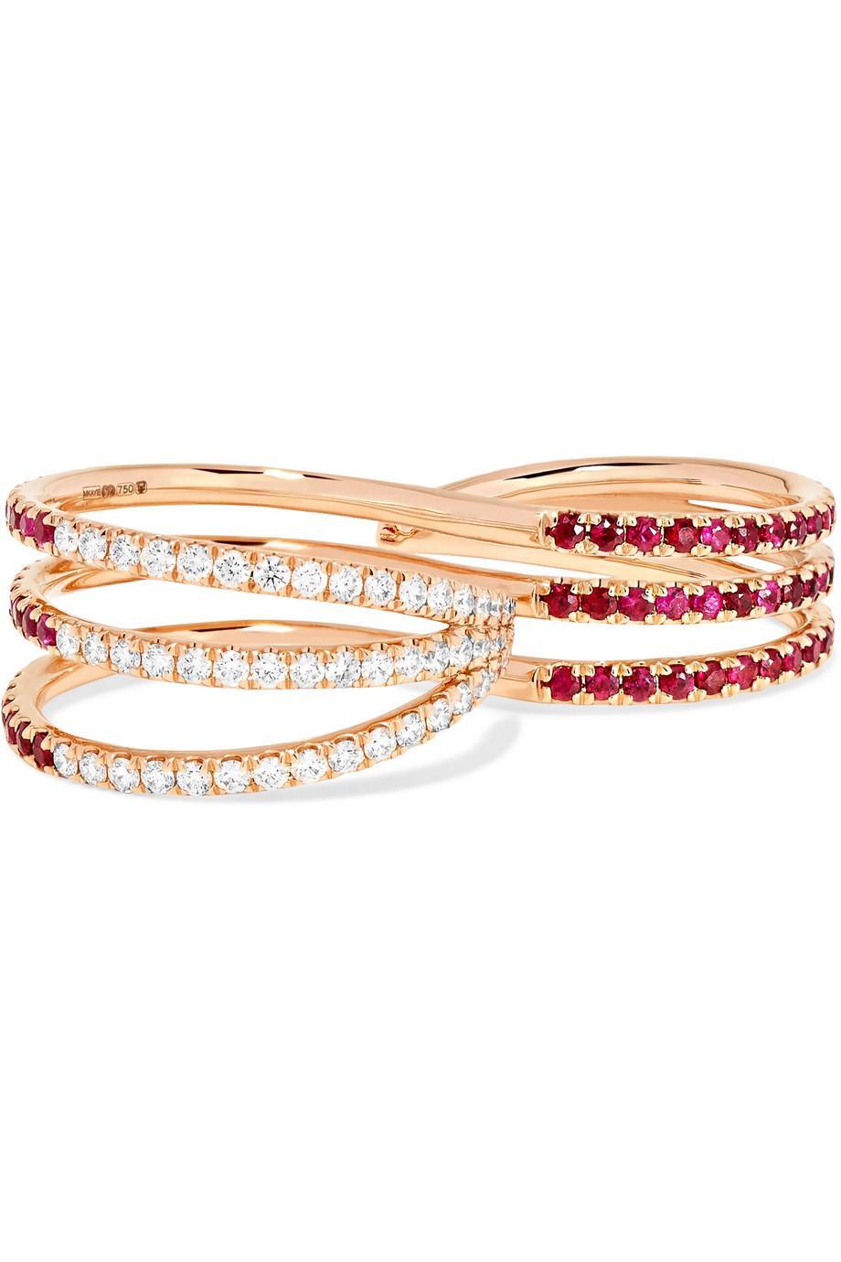 Melissa Kaye 18-karat Gold Diamond Two-finger Ring Ftuh2