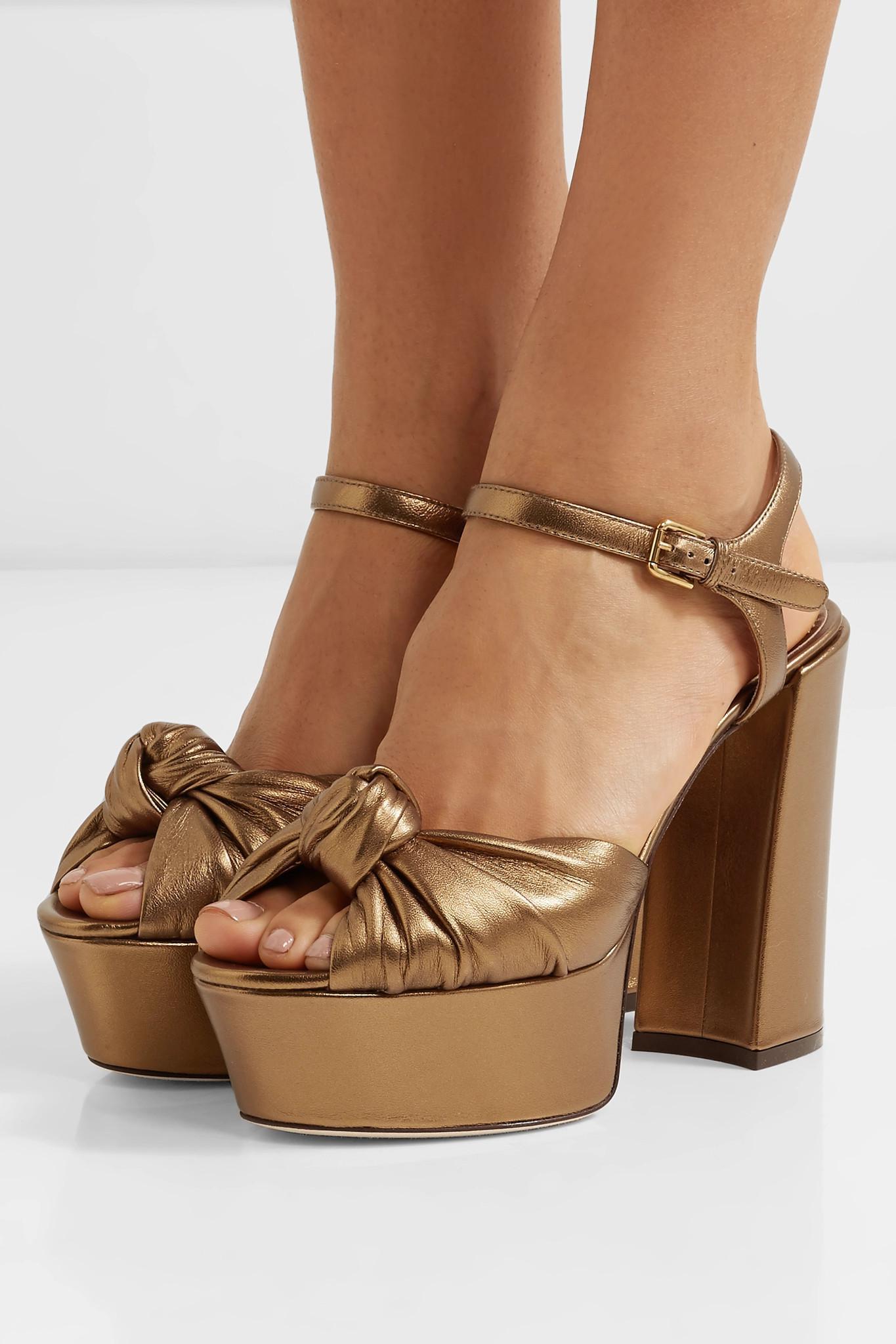 bda5b2349d8 Dolce   Gabbana - Knotted Metallic Leather Platform Sandals - Lyst. View  fullscreen
