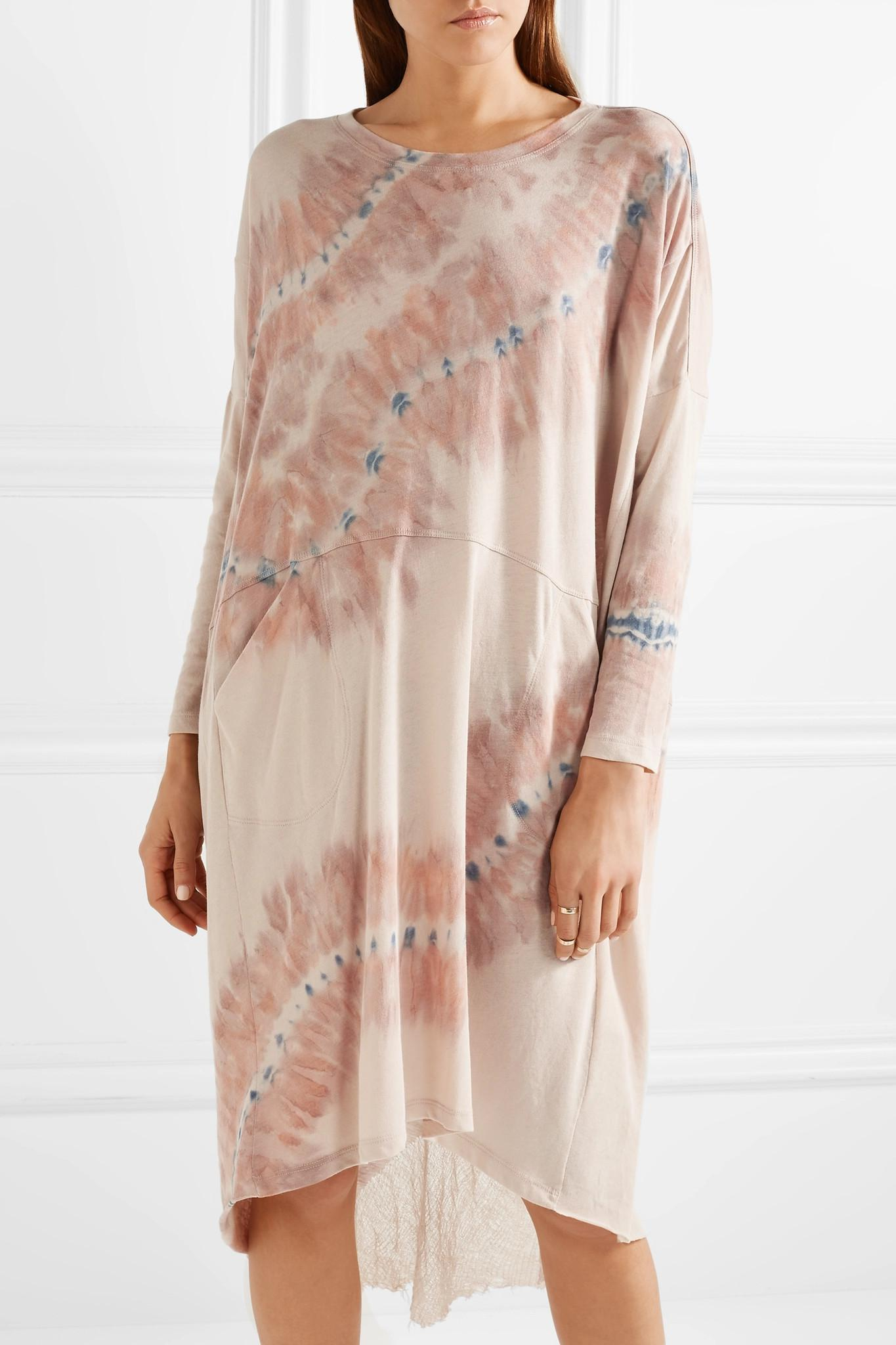 Oversized Tie-dyed Cotton-blend Jersey Dress - Neutral Raquel Allegra Buy Cheap Footlocker Finishline Discount Latest Amazon Perfect Sale Online Reliable Cheap Online 0vEPkgY