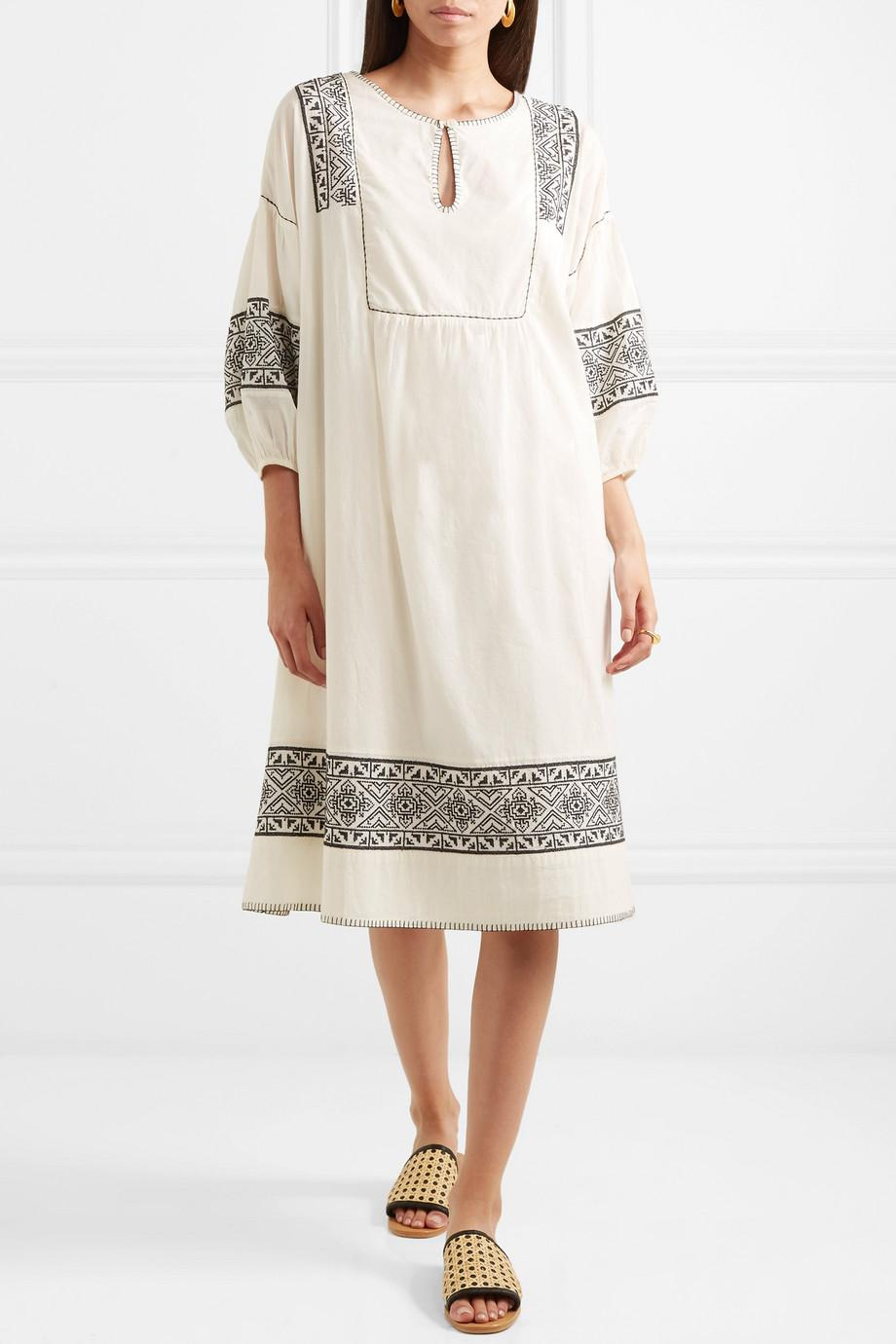 The Lovely Embroidered Cotton-gauze Dress - Cream The Great. fac5lmHhV
