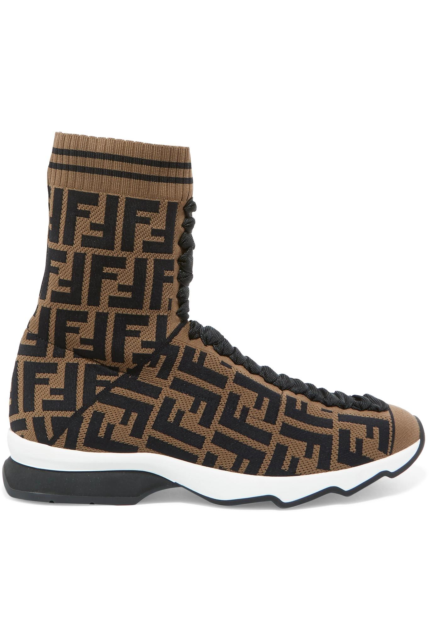 c271ff844345 Lyst - Fendi Logo-jacquard Stretch-knit And Mesh Sneakers