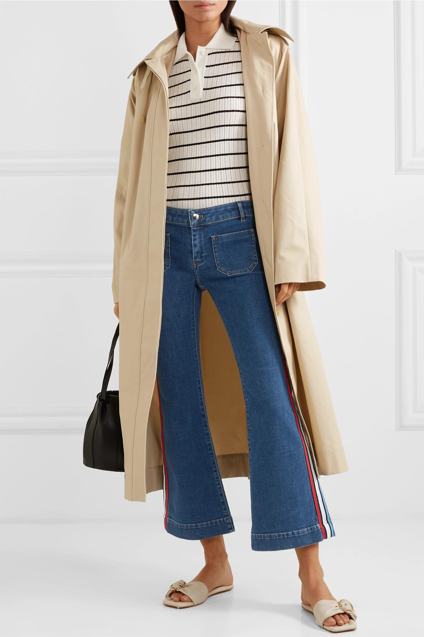 bae31bffb0 Sonia Rykiel - Blue Cropped Striped Low-rise Flared Jeans - Lyst. View  fullscreen