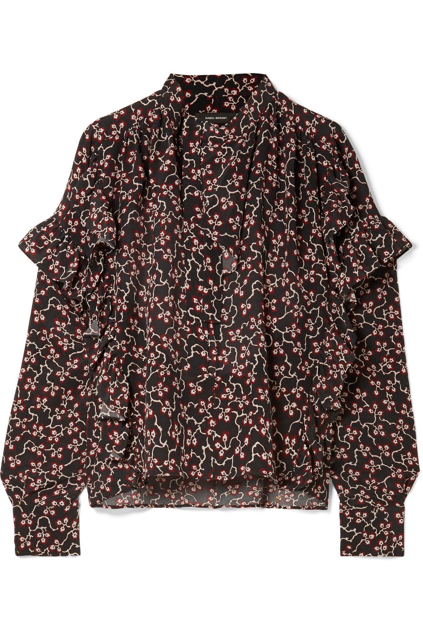 f3aed3a7e8884 Isabel Marant - Black Libel Ruffled Printed Silk Crepe De Chine Blouse -  Lyst. View fullscreen