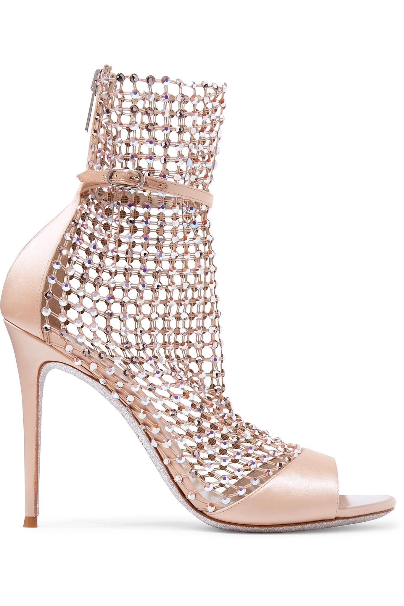 4d7ea0cb1 Lyst - Rene Caovilla Embellished Mesh Sandals in Pink