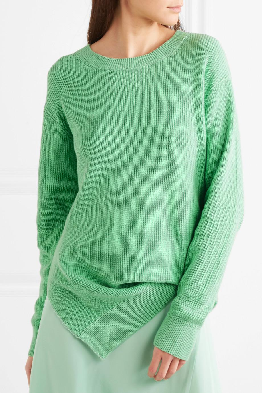 Fern Pickup Asymmetric Cotton Sweater - Light green Sies Marjan Shop RRCT6