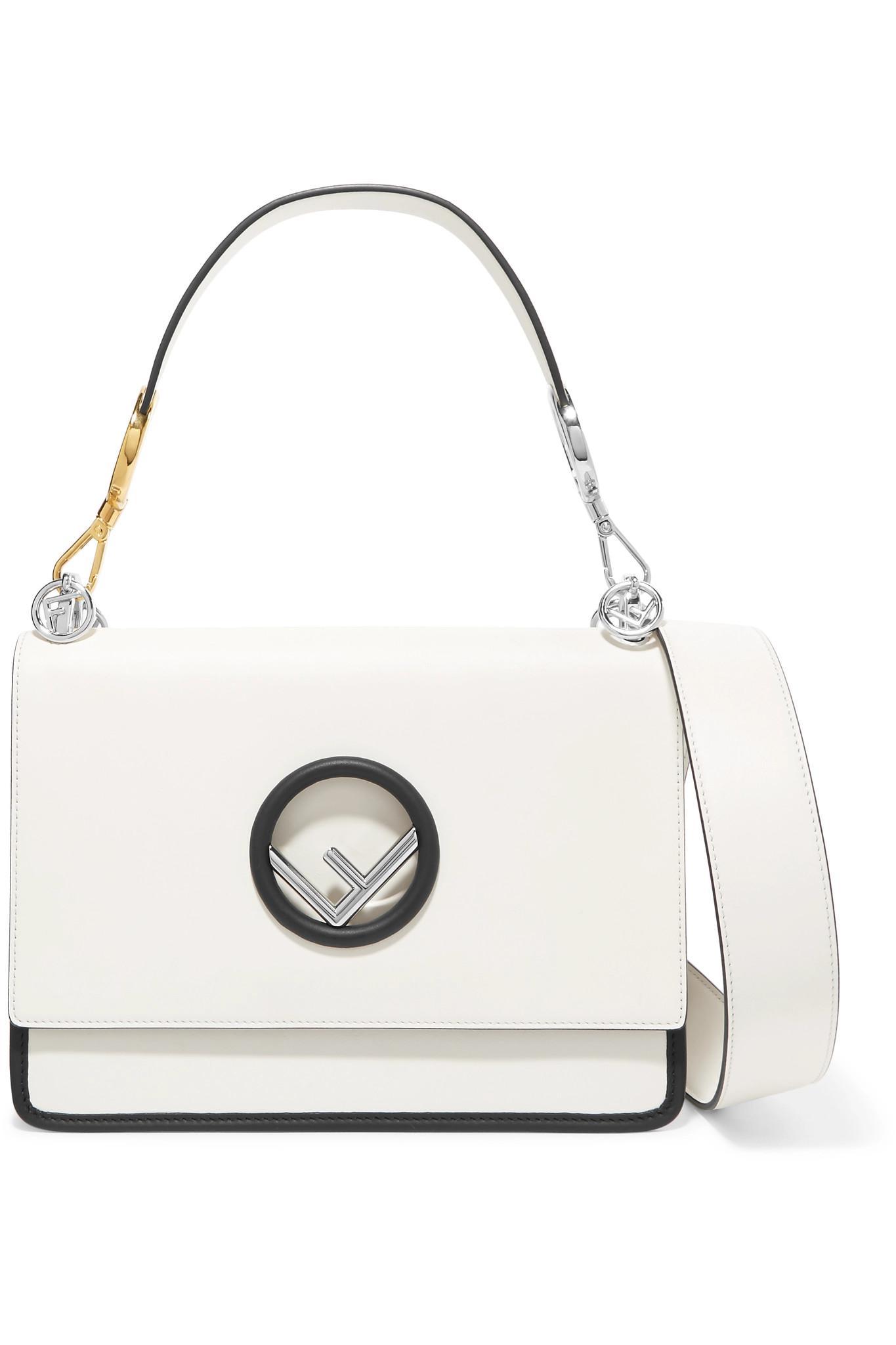 Fendi Kan I Leather Shoulder Bag in White - Lyst ce5b64ec0ca6a