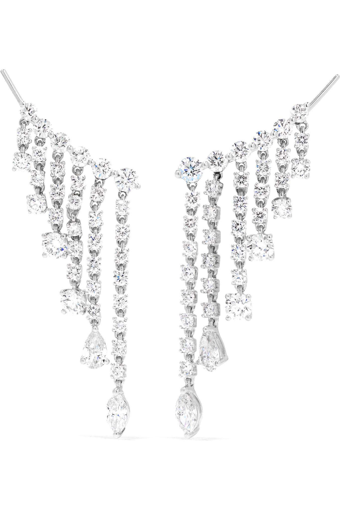 Goutte De Pluie 18 Carats Boucles D'oreilles Diamant En Or Blanc - Argent Anita Ko CywAos