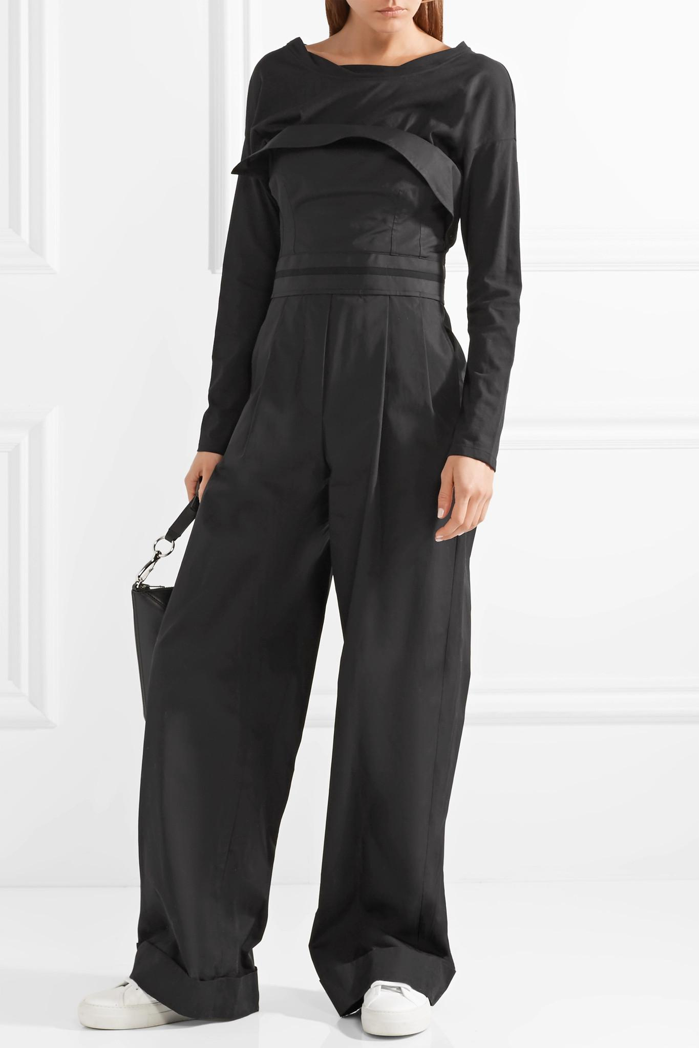 230fd2336ca Lyst - Alexander Wang Layered Cotton-poplin And Jersey Jumpsuit in Black