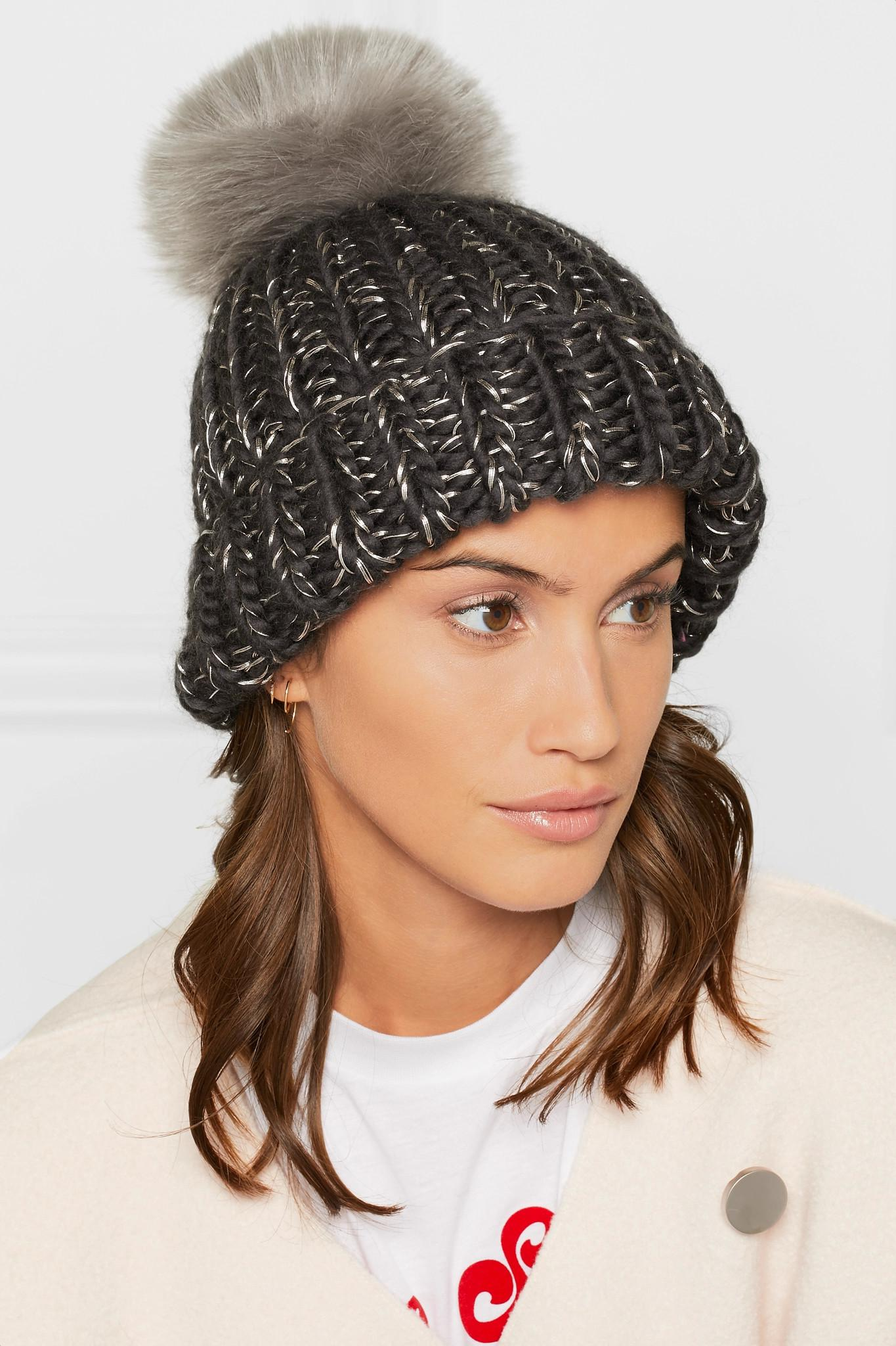 b8edb49c20b45 Eugenia Kim Rain Faux Fur-trimmed Chunky-knit Wool Beanie in Gray - Lyst