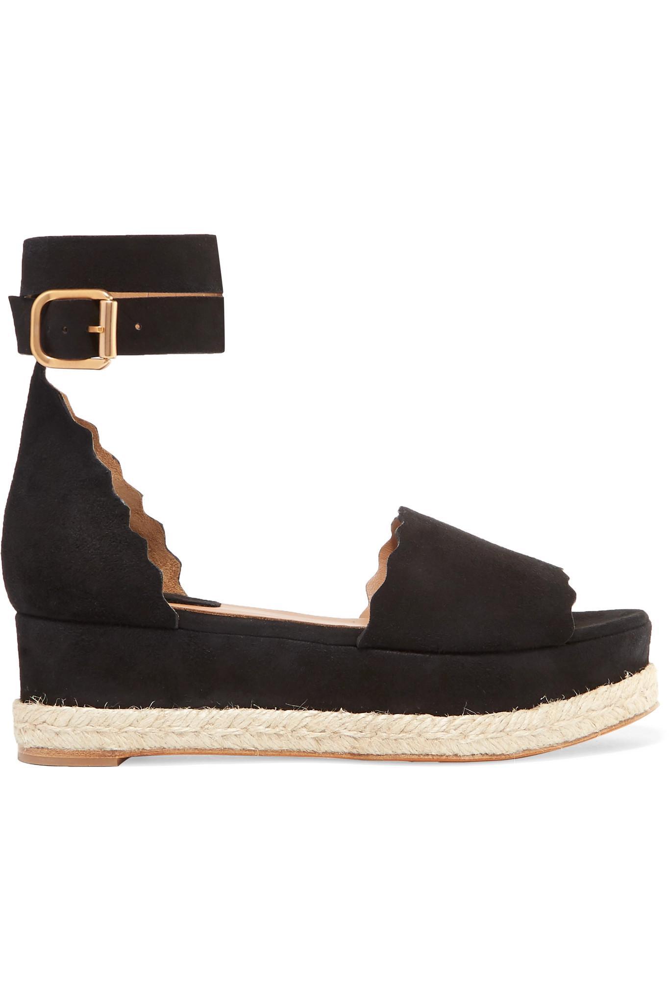 42cc39d9698 Chloé Lauren Scalloped Suede Espadrille Platform Sandals in Black - Lyst