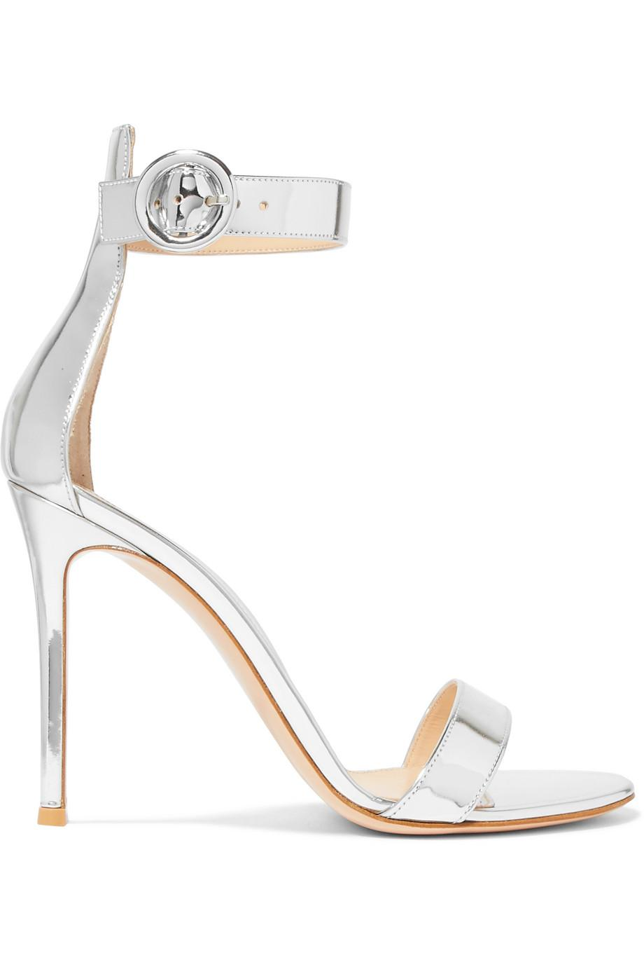 100 Crystal-embellished Metallic Leather Sandals - Silver Gianvito Rossi mmyqw