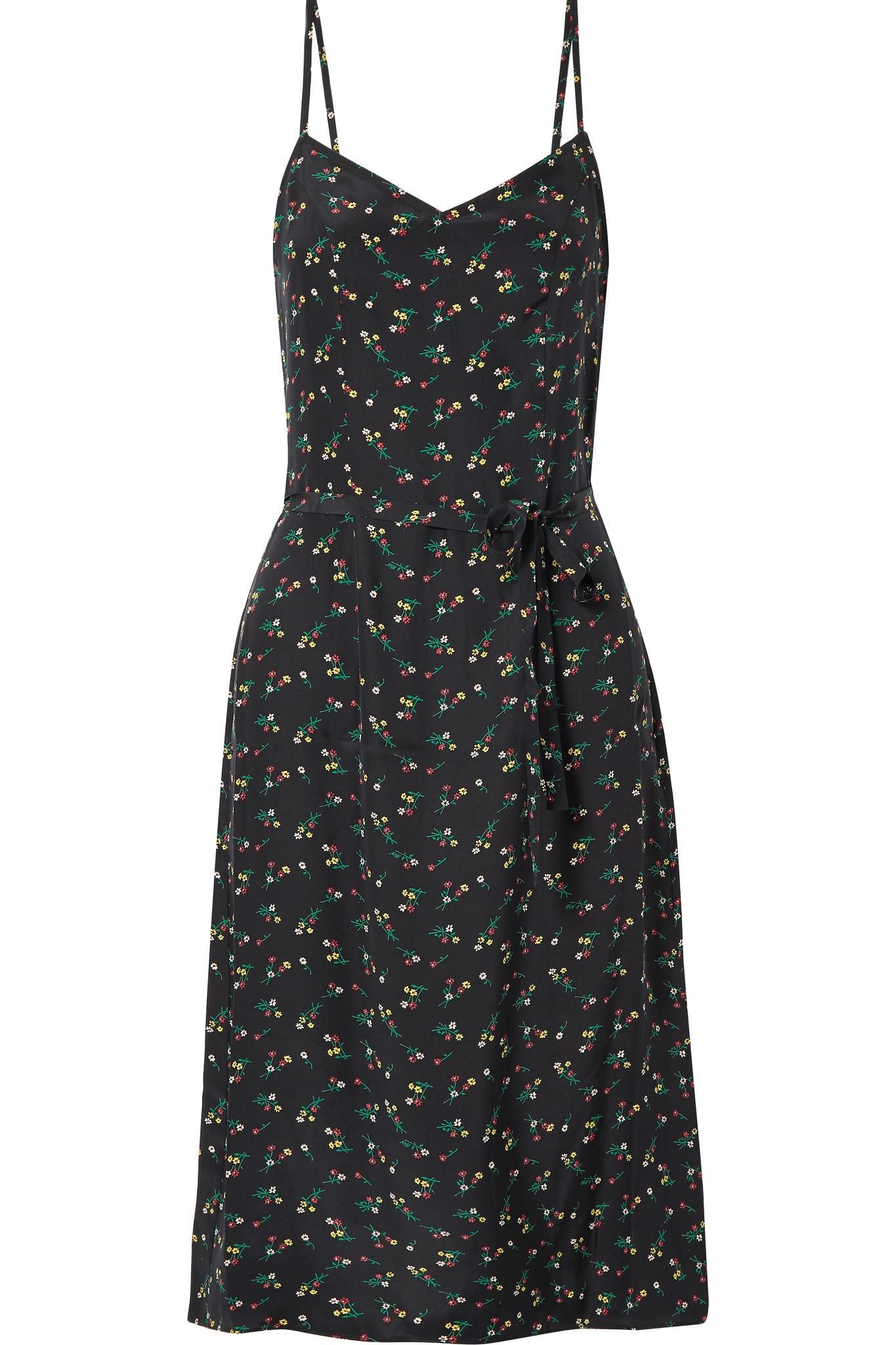 9470cb5b5b30 HVN Lily Floral-print Silk Crepe De Chine Dress in Black - Lyst