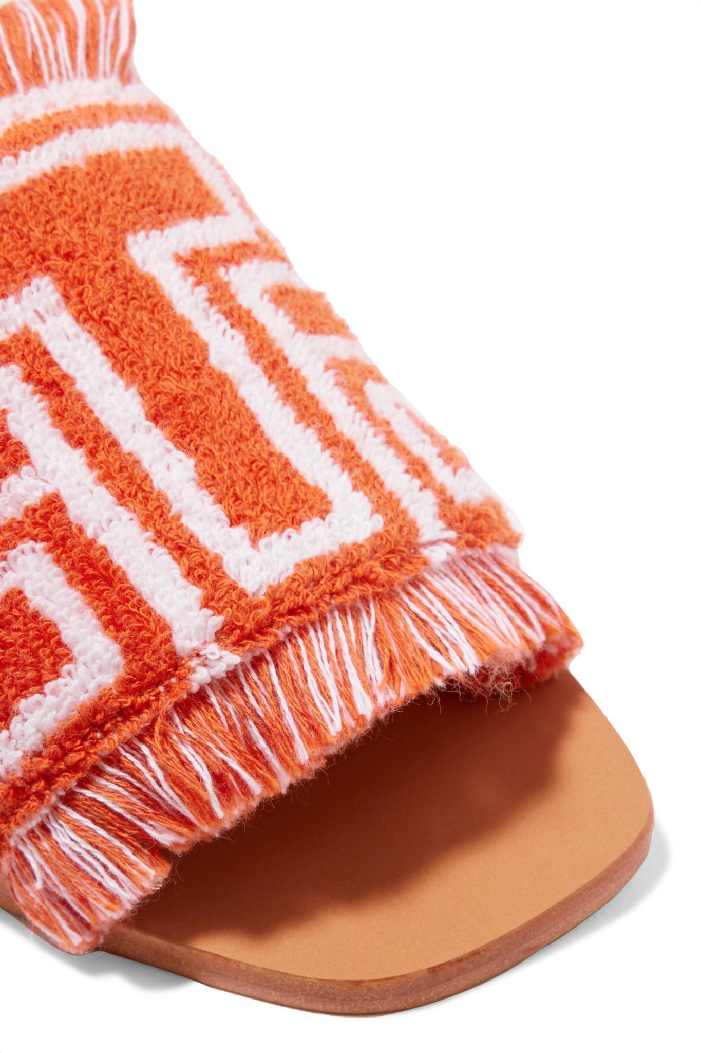 77a1cf3f185e Tory Burch Logo-intarsia Terry Slides in Orange - Lyst