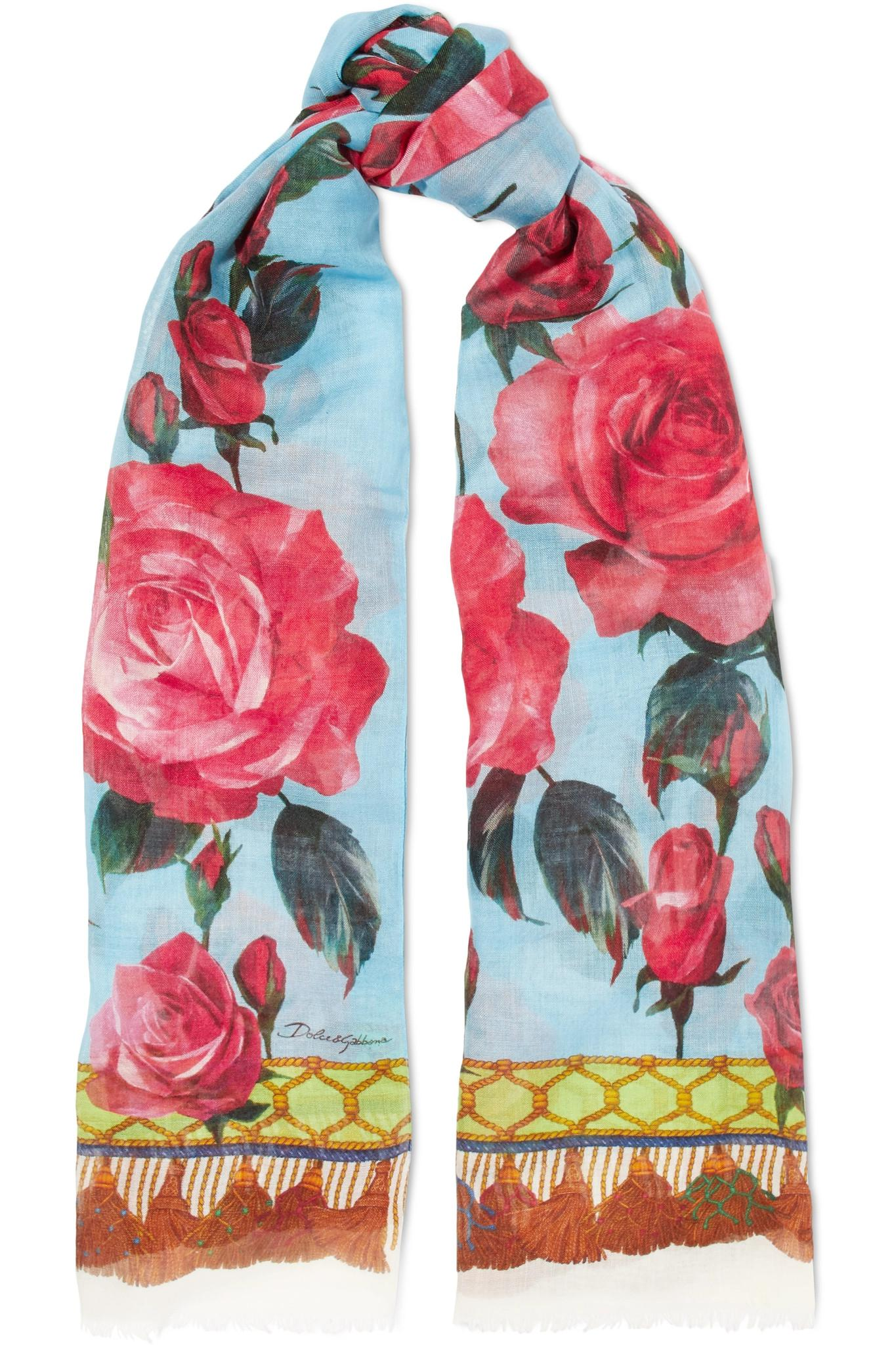 Frayed Printed Cashmere And Silk-blend Scarf - Red Dolce & Gabbana LatA1