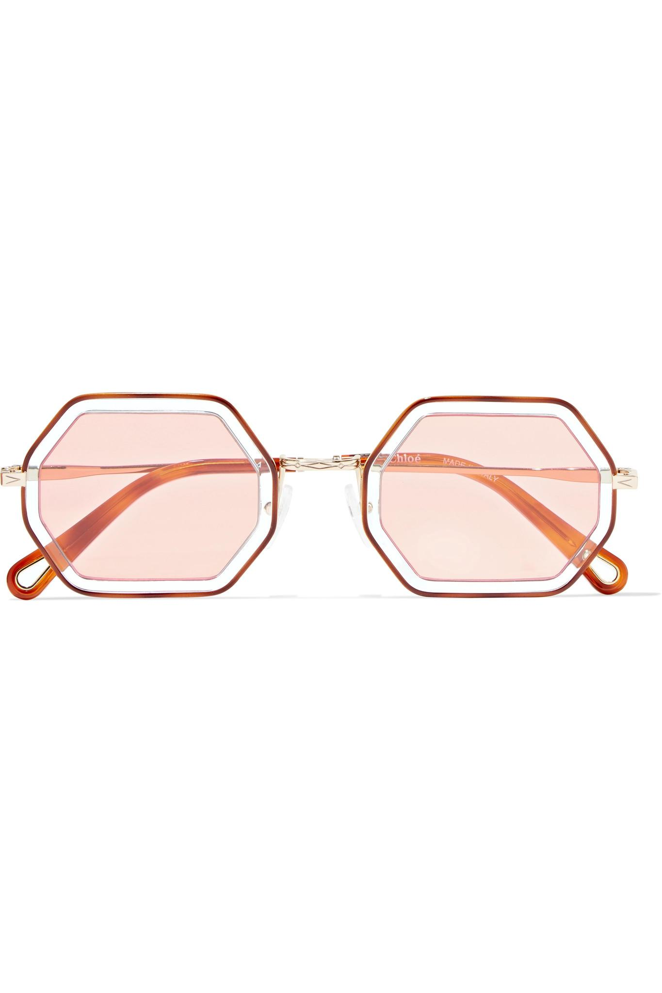 01f2859e08f Chloé Octagon-frame Gold-tone And Acetate Sunglasses - Lyst