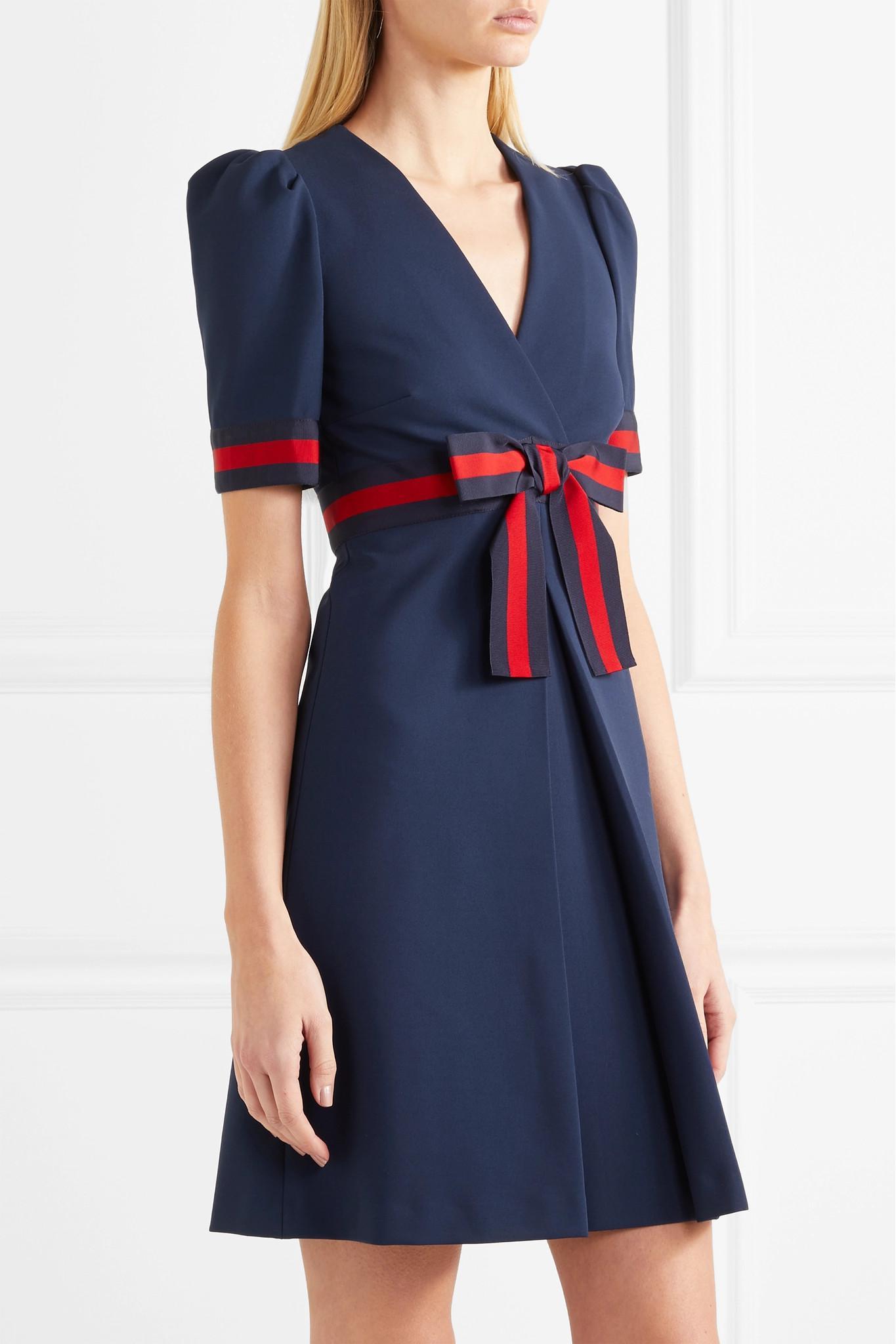 d97f45116 Gucci Grosgrain-trimmed Stretch-ponte Mini Dress in Blue - Lyst