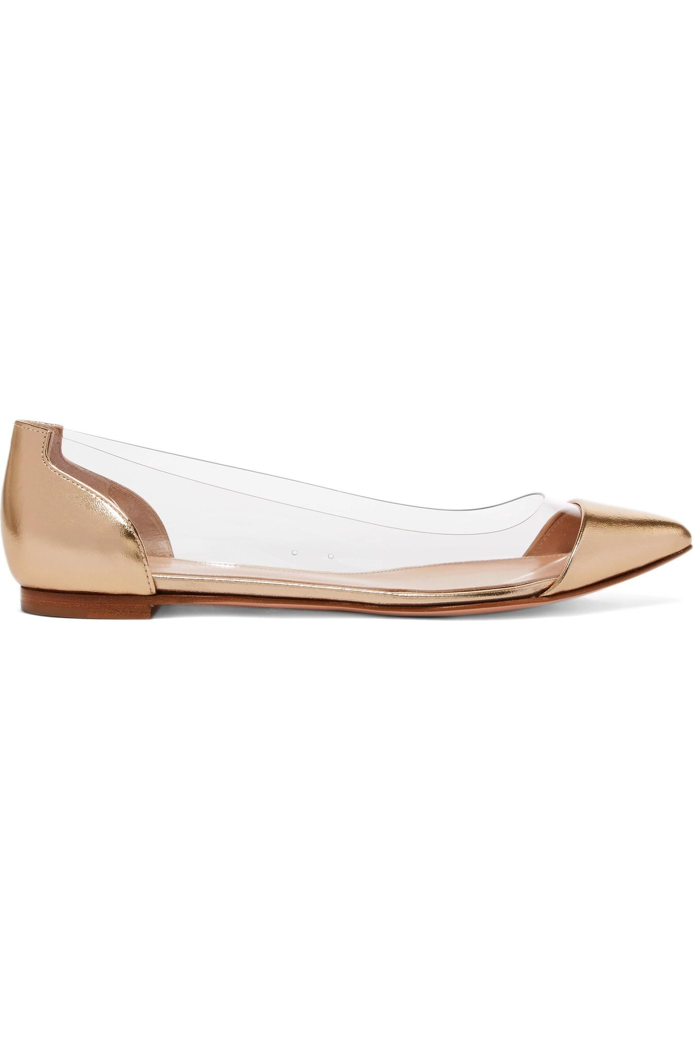 6d4977fcf16 Lyst - Gianvito Rossi Metallic Leather And Pvc Point-toe Flats in ...