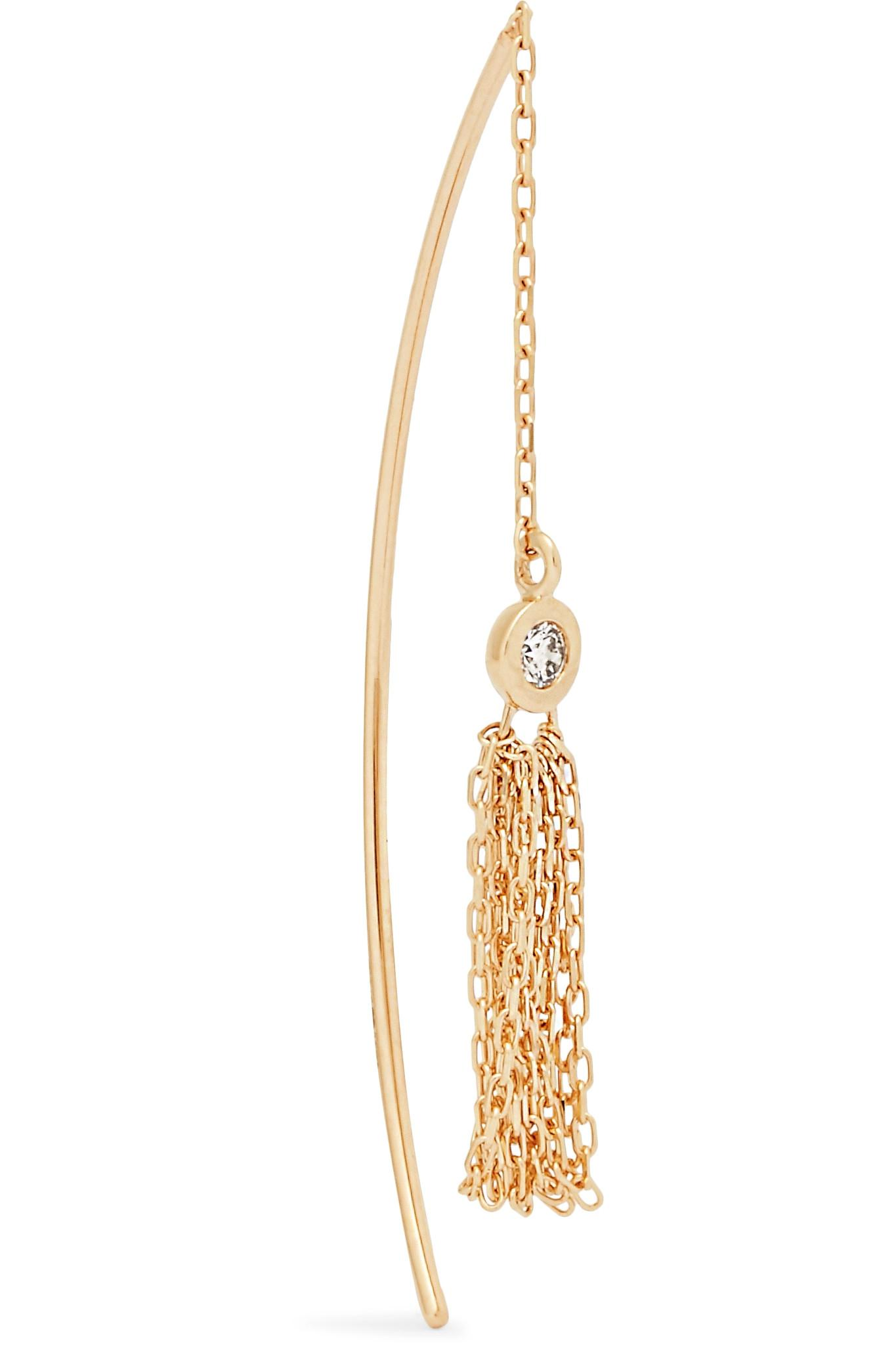 Hirotaka Womens Grey Diamond & Yellow Gold Earring OXrggiGk
