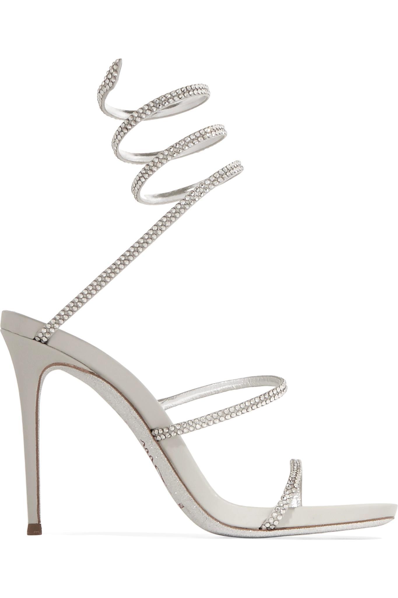 Crystal-embellished Metallic Leather Sandals - Silver Rene Caovilla 21vGs5BlGv