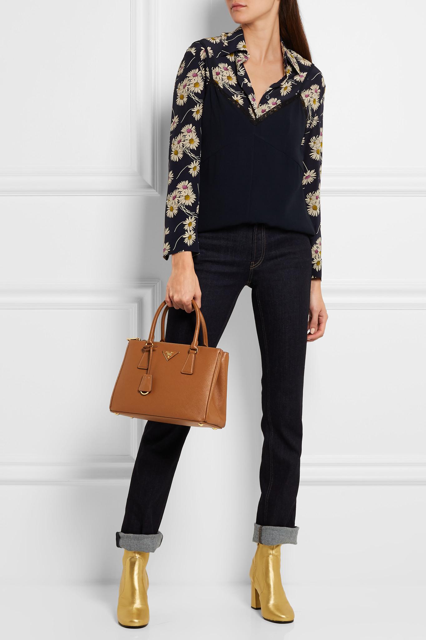 9b15f1a3cc56 Lyst - Prada Galleria Saffiano Leather Double Handle Tote in Brown