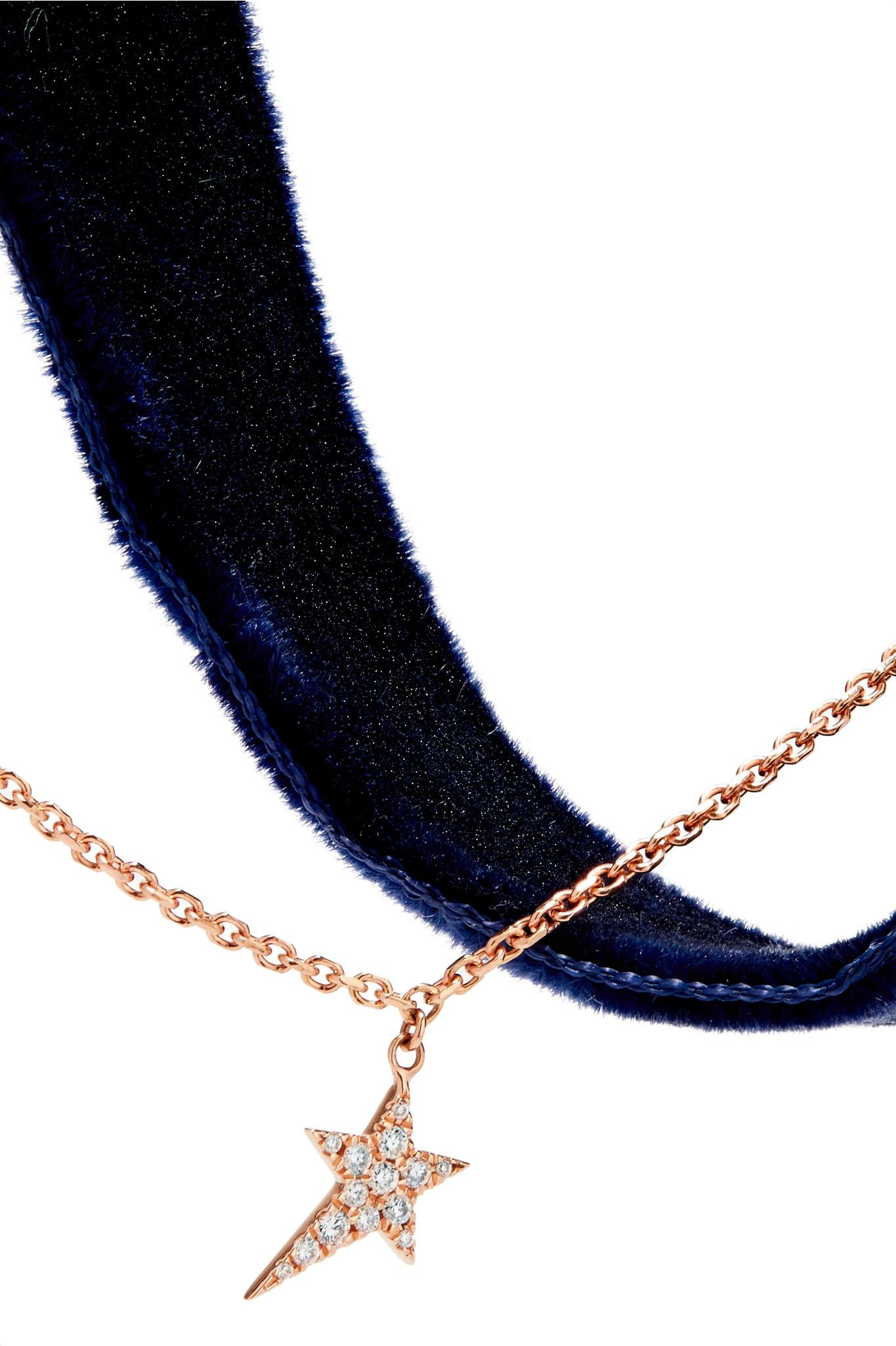 Diane Kordas 18-karat Rose Gold, Velvet And Diamond Choker - Midnight blue
