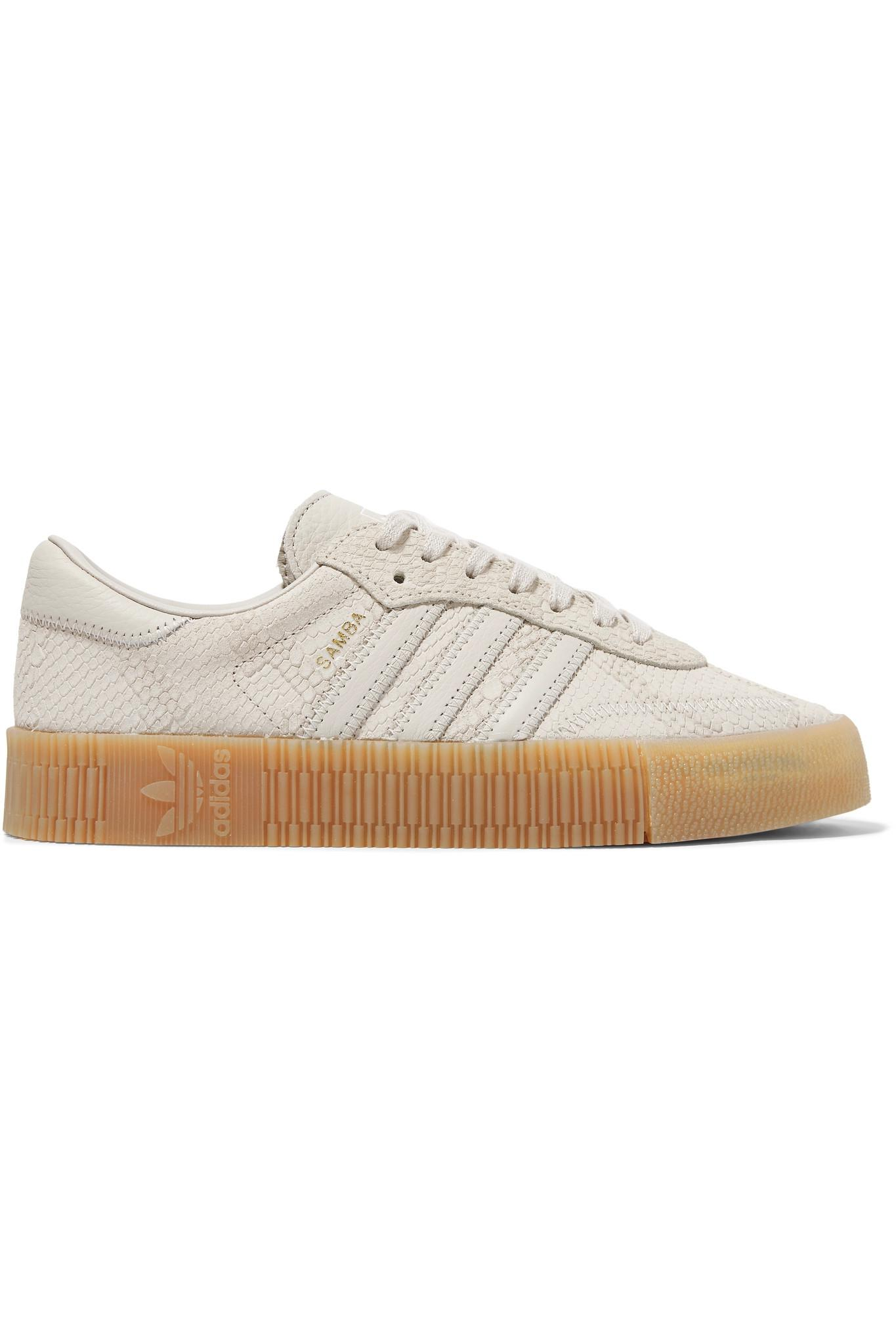 brand new 2ca5b 617d8 adidas Originals. Womens Brown Samba Rose Snake-effect Suede And Leather Platform  Sneakers
