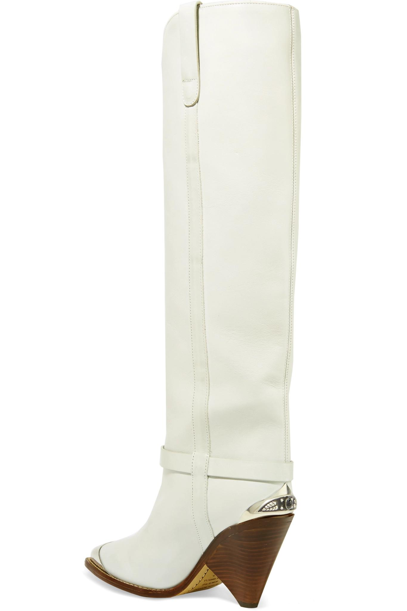 69119d56300 Lyst - Isabel Marant Lenskee Metal-trimmed Leather Knee Boots in White