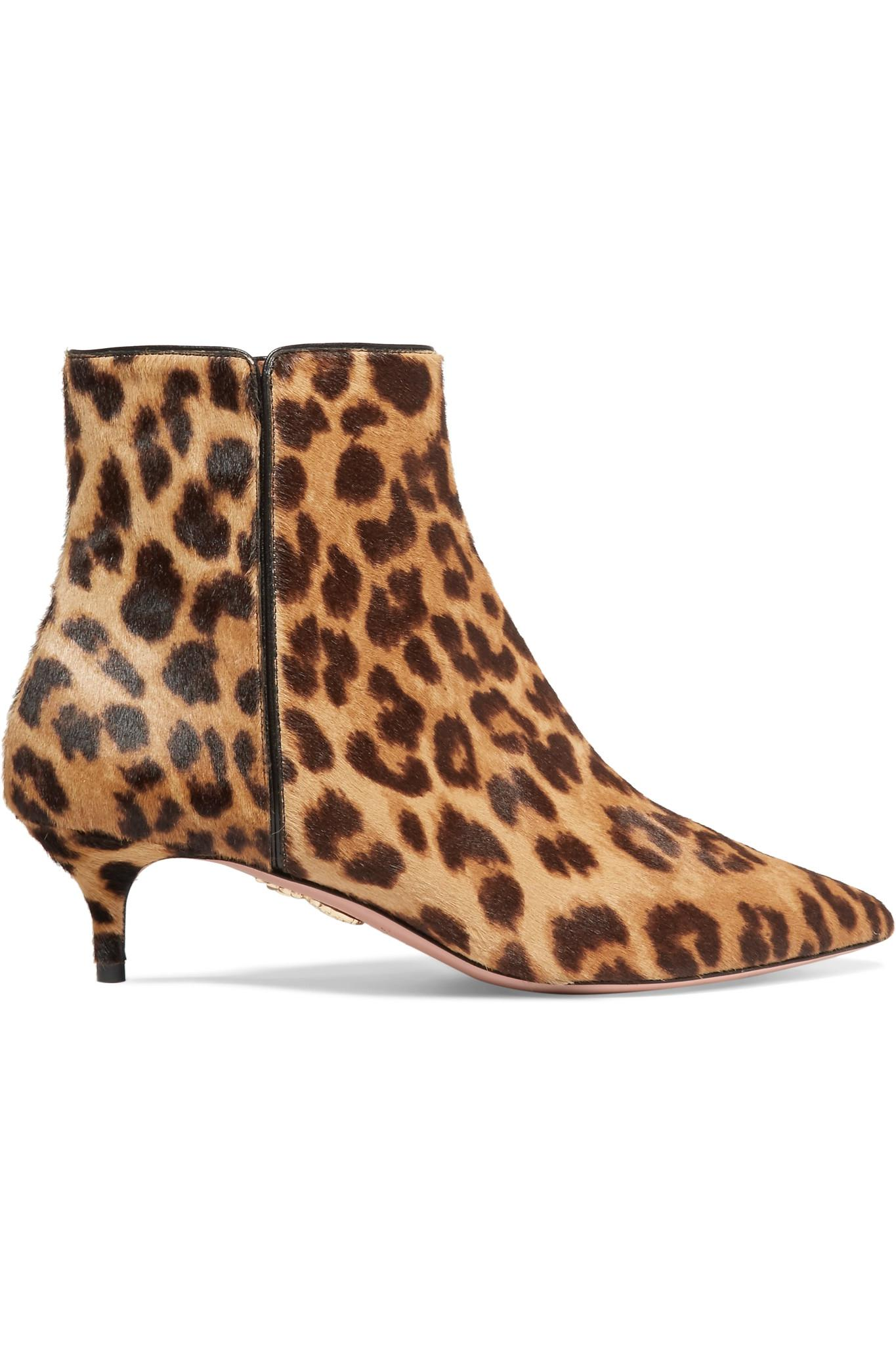 97eb10d62a92 Aquazzura Quant Leopard-print Calf Hair Ankle Boots in Brown - Lyst