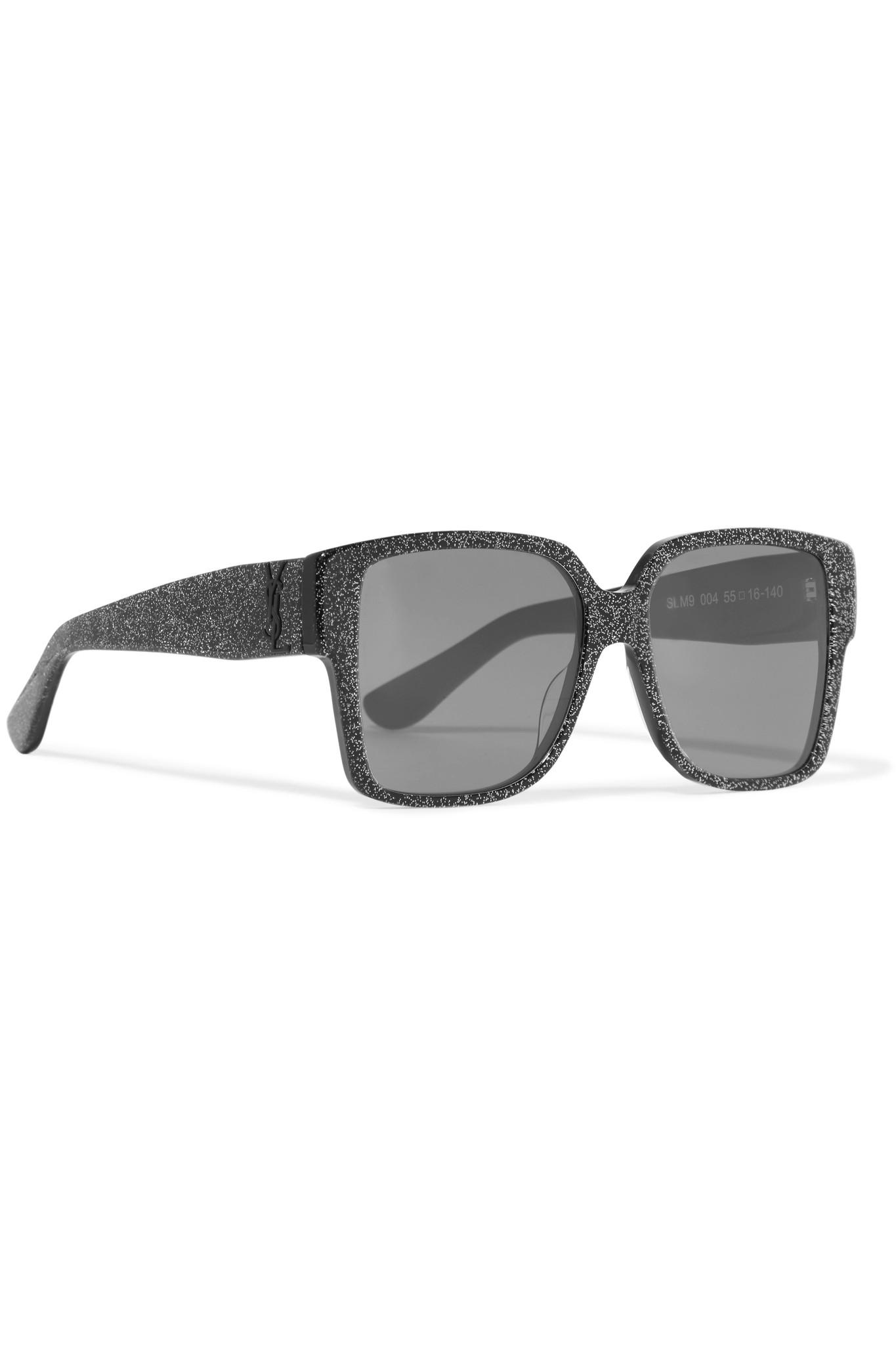 2d744227595 Saint Laurent Oversized Square-frame Glittered Acetate Sunglasses in ...