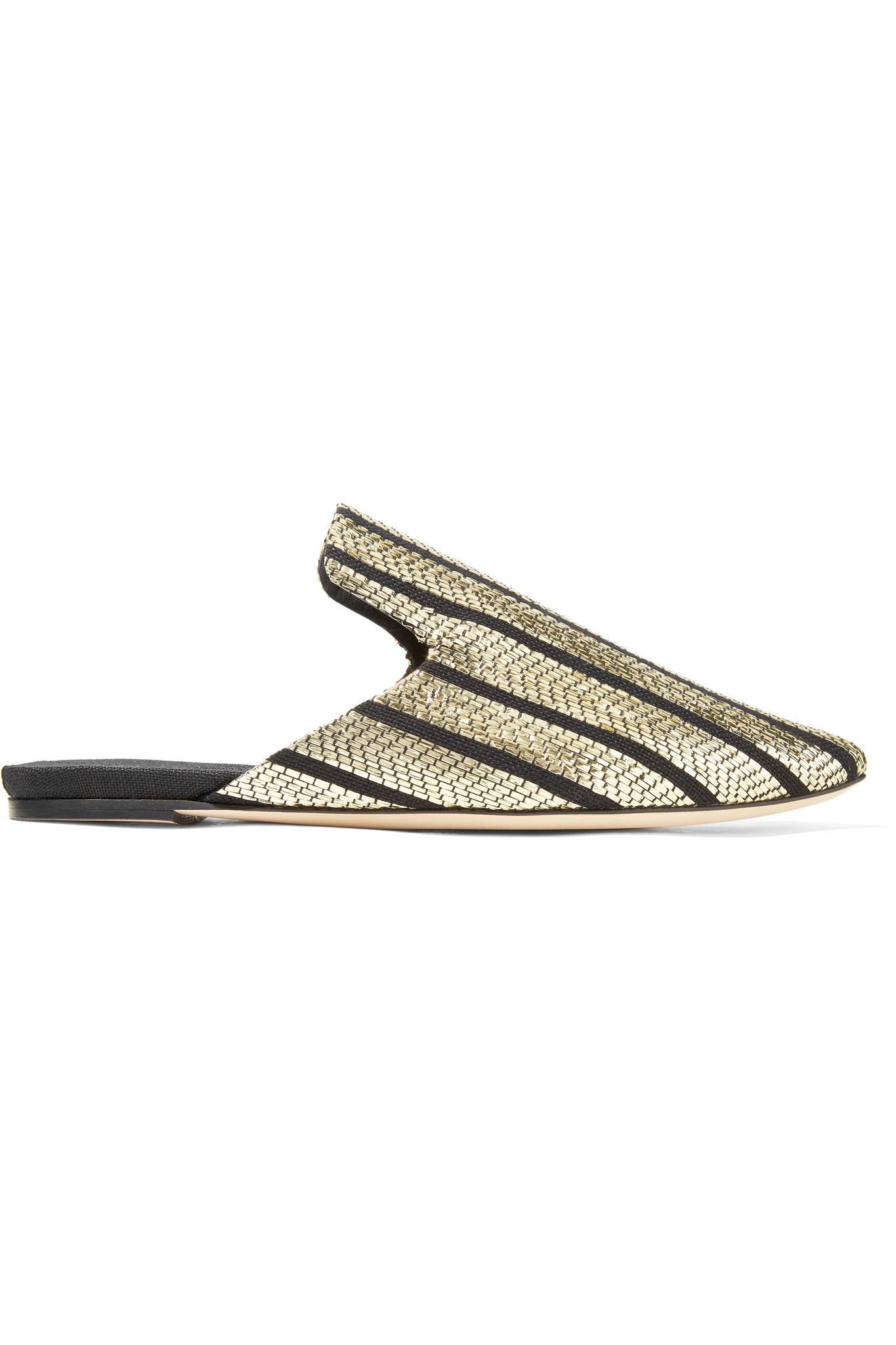 Sanayi 313 Riga Striped Metallic Slippers 5Qr5z