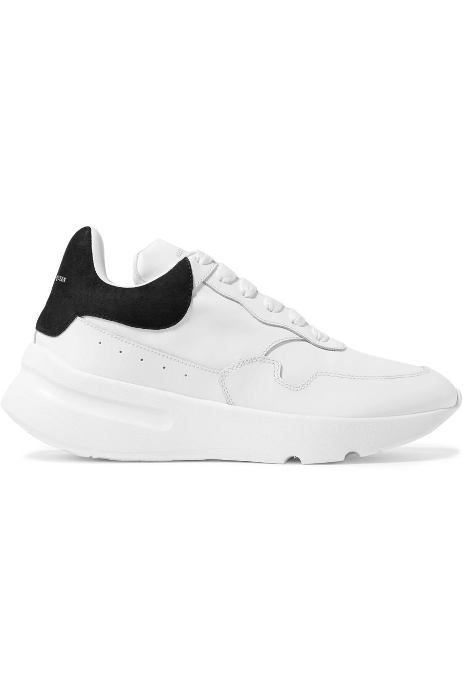 Metallic-trimmed Leather Exaggerated-sole Sneakers - White Alexander McQueen 3Gh17r